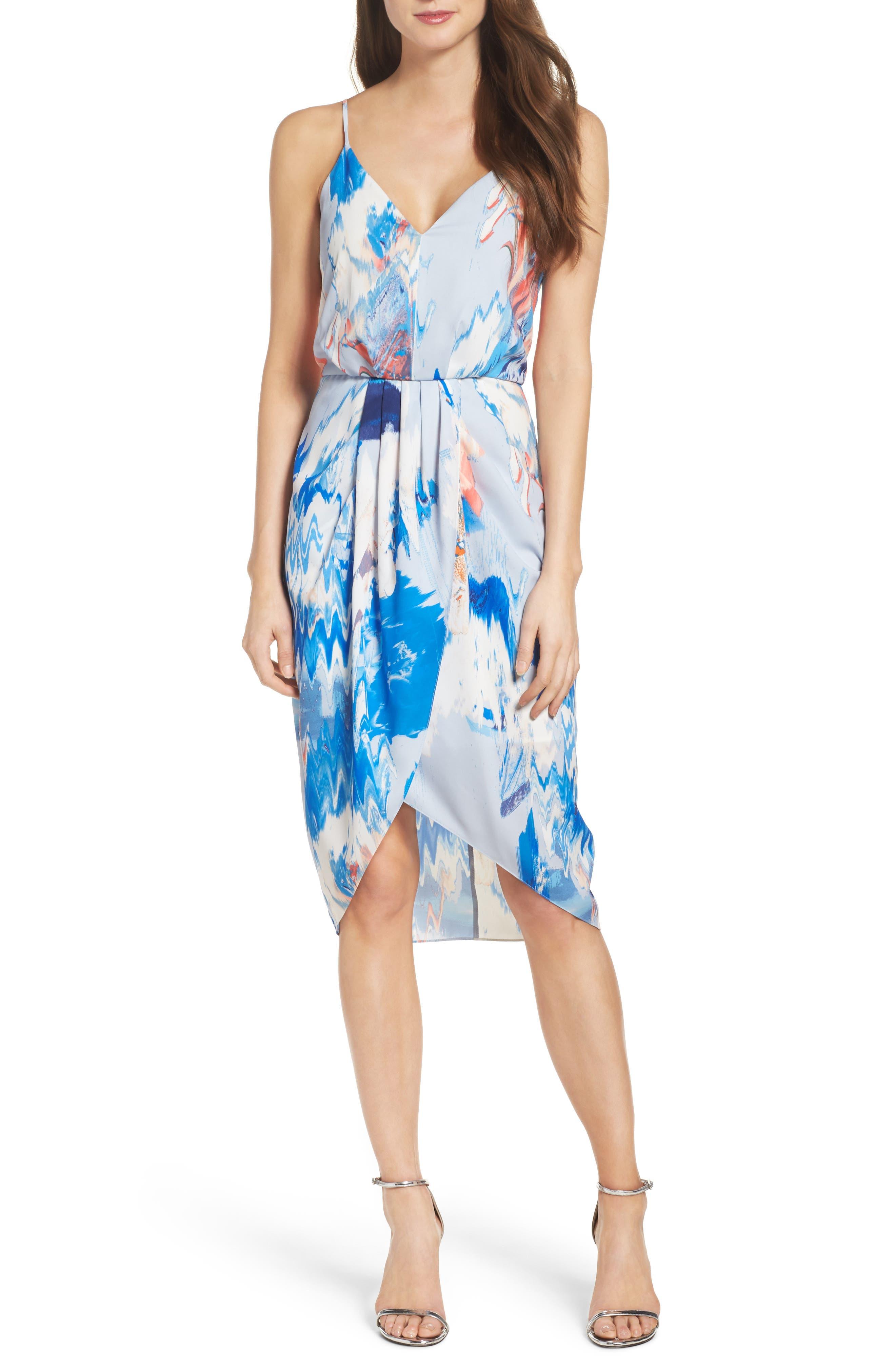 Print Faux Wrap Dress,                         Main,                         color, BLUE WATERCOLOR FLORAL PRINT
