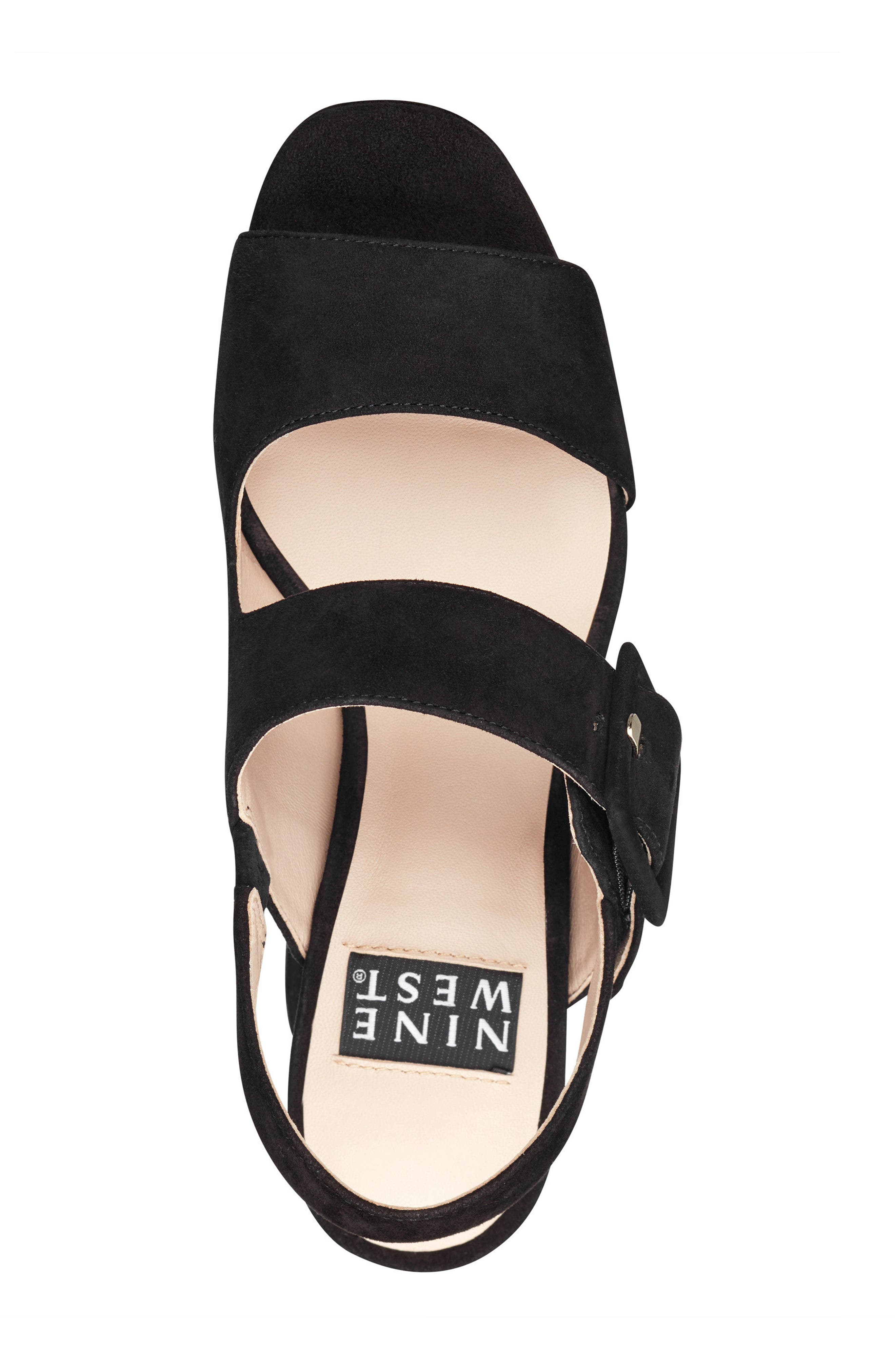 Lexine - 40th Anniversary Capsule Collection Platform Sandal,                             Alternate thumbnail 5, color,                             BLACK LEATHER