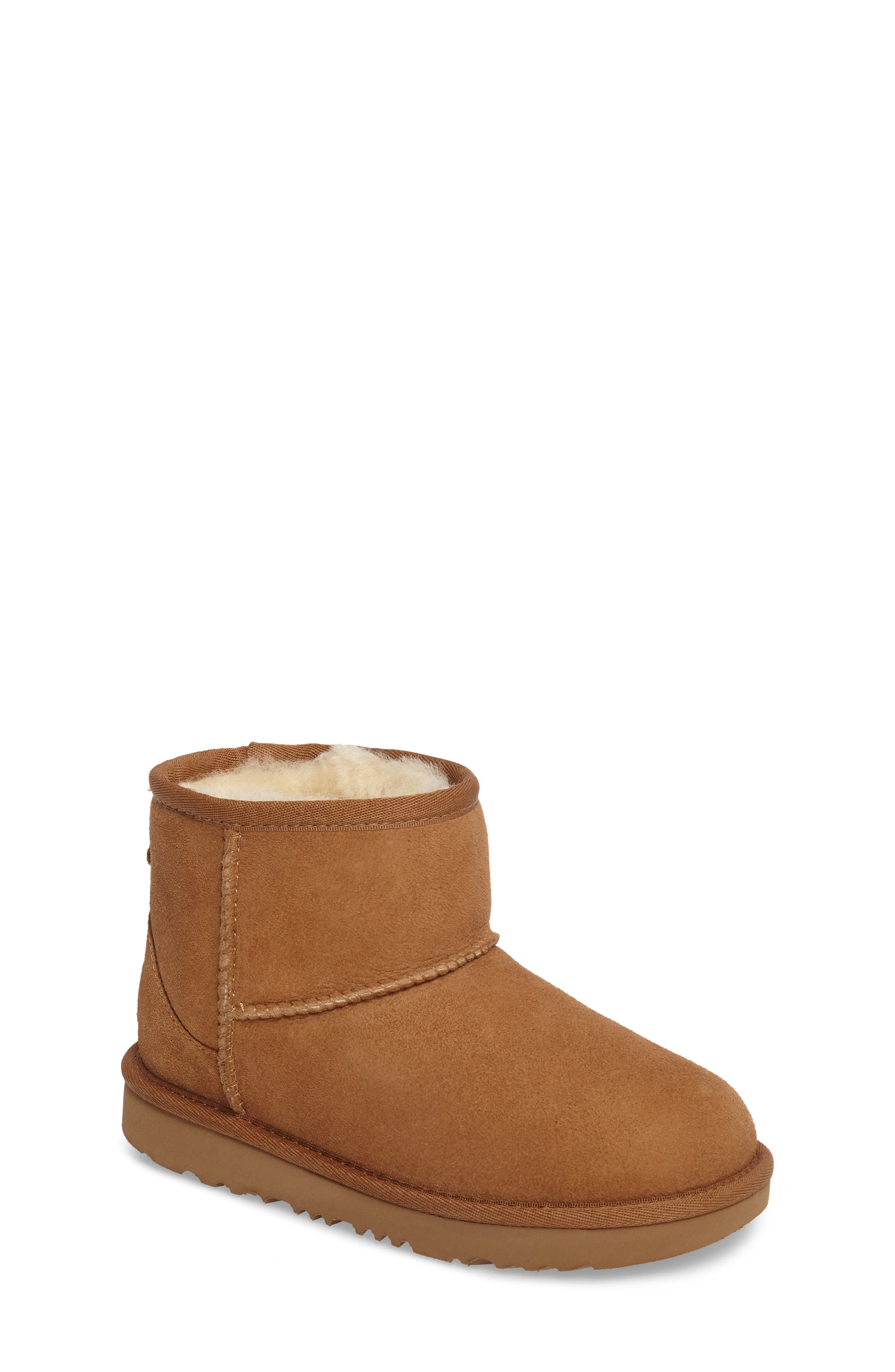 Classic Mini II Water-Resistant Genuine Shearling Boot,                         Main,                         color, CHESTNUT
