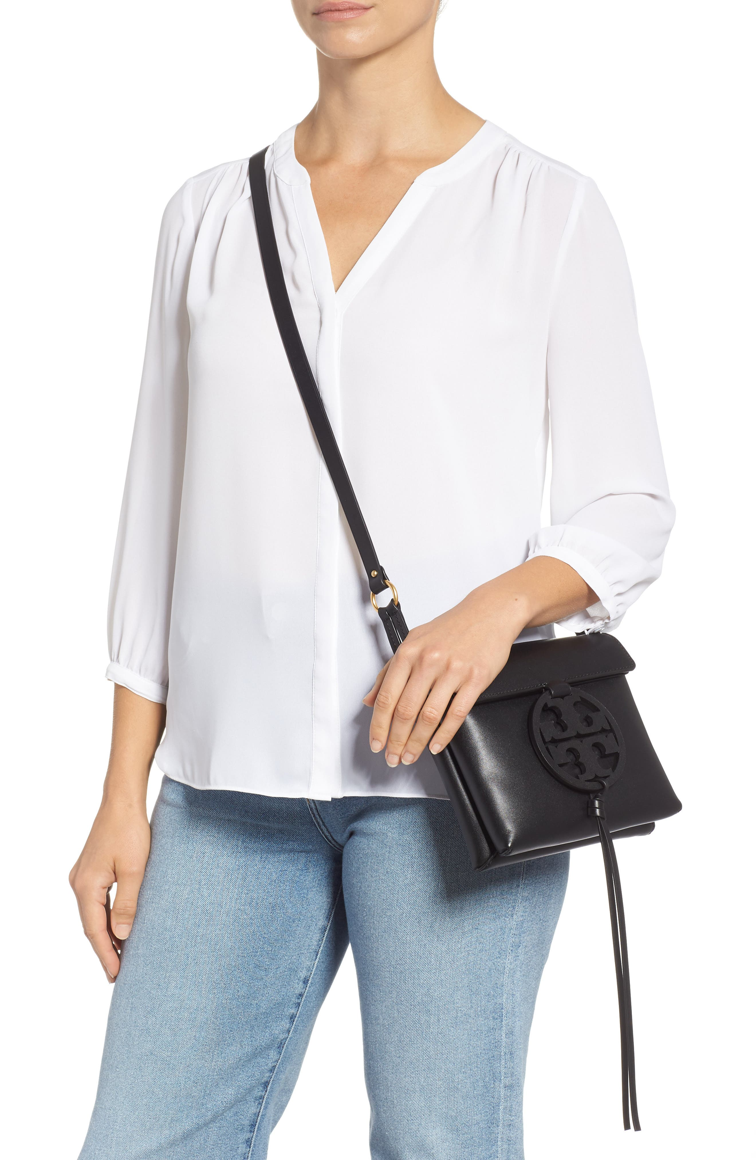 Miller Leather Crossbody Bag,                             Alternate thumbnail 2, color,                             BLACK