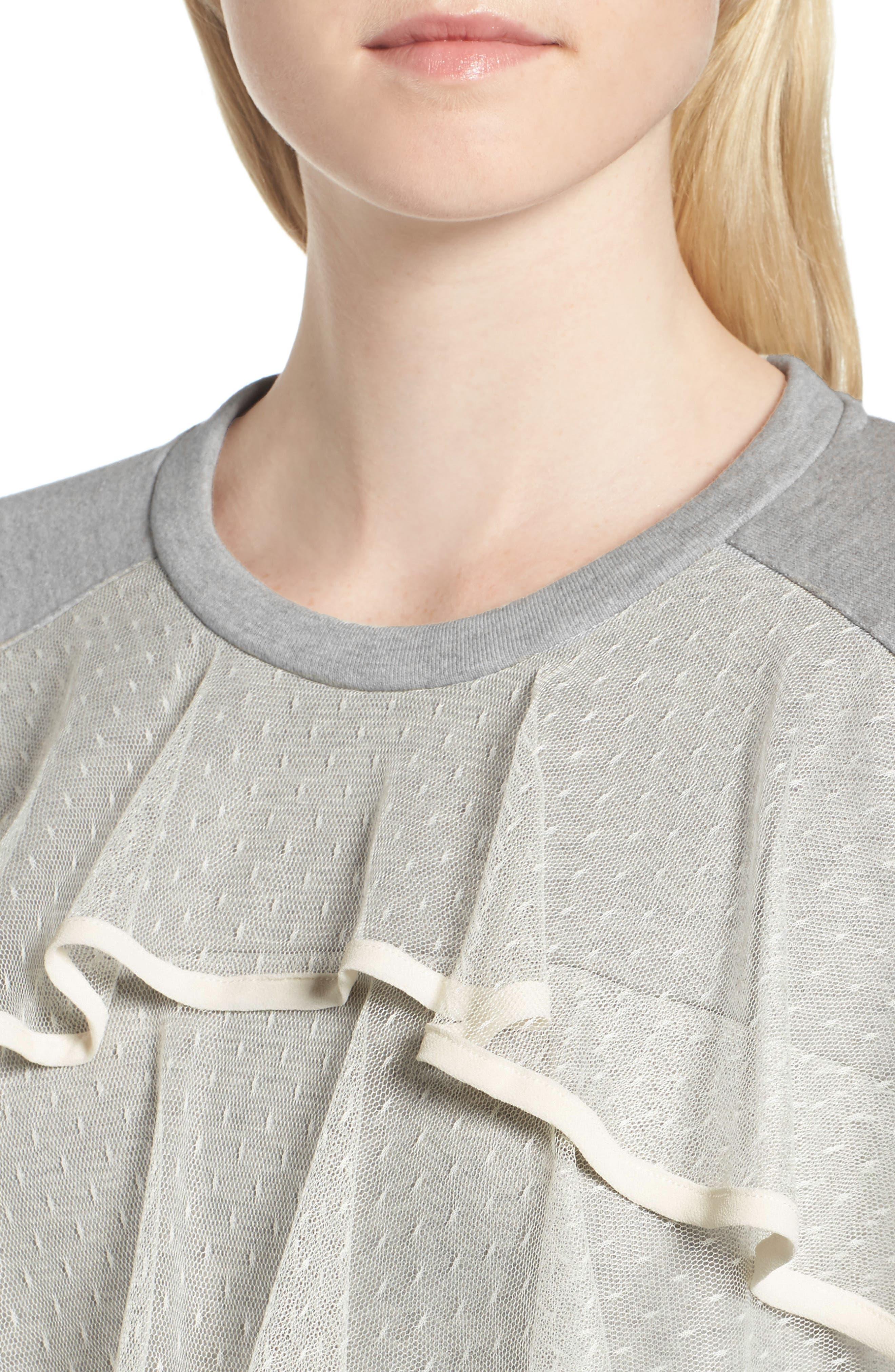Mesh Ruffle Sweatshirt,                             Alternate thumbnail 4, color,                             033
