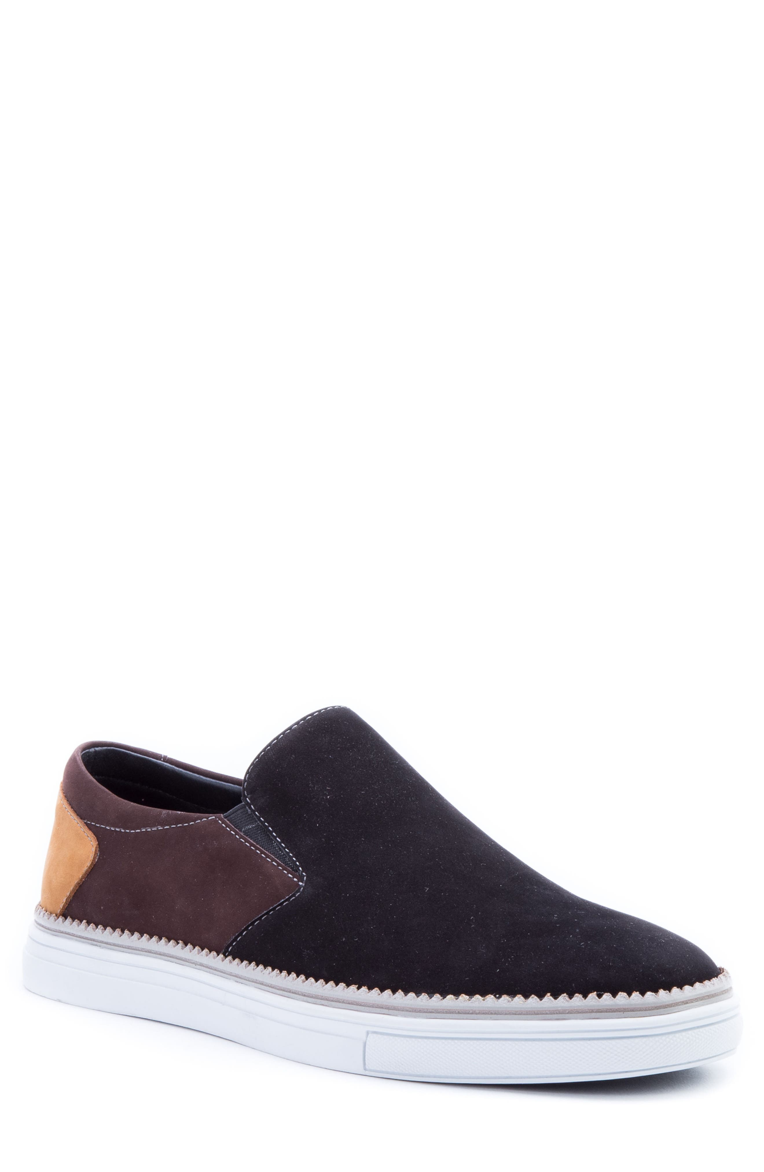Rivera Colorblocked Slip-On Sneaker,                             Main thumbnail 1, color,                             BLACK SUEDE