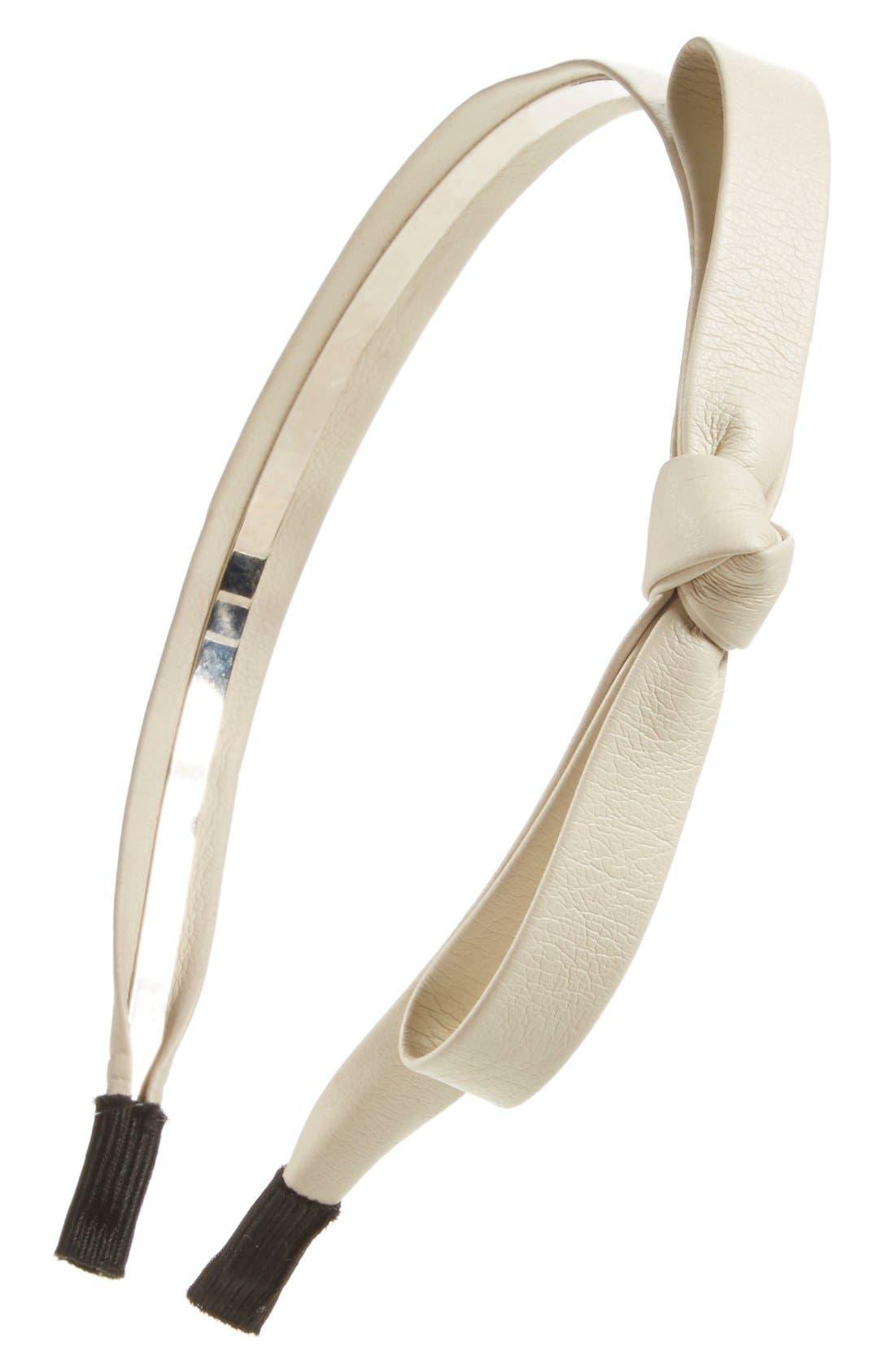 Faux Leather Bow Headband,                             Main thumbnail 8, color,