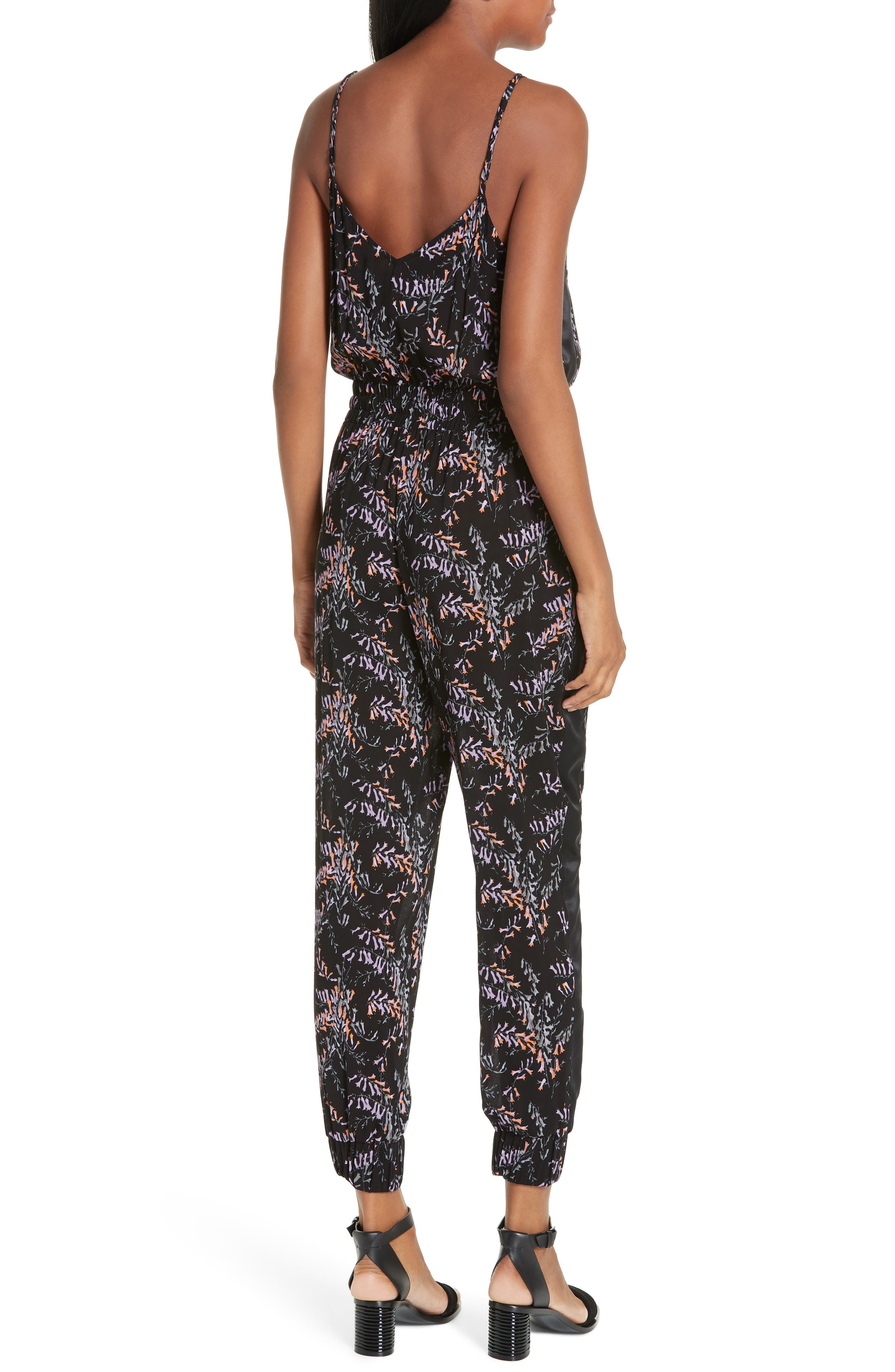 CINQ À SEPT,                             Amia Snapdragon Print Silk Jumpsuit,                             Alternate thumbnail 2, color,                             BLACK MULTI