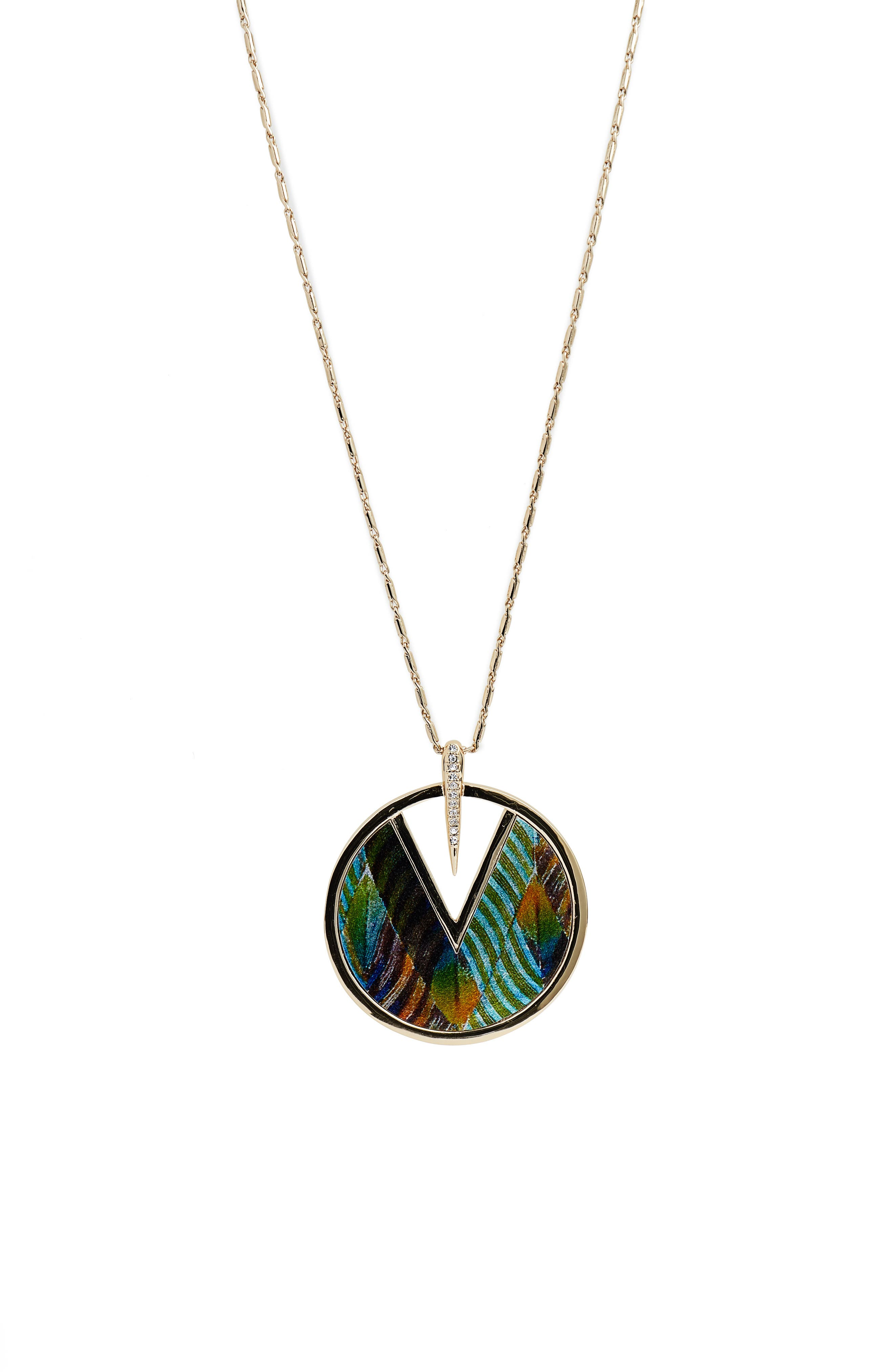 Inlaid Leather Pendant Necklace,                             Alternate thumbnail 5, color,