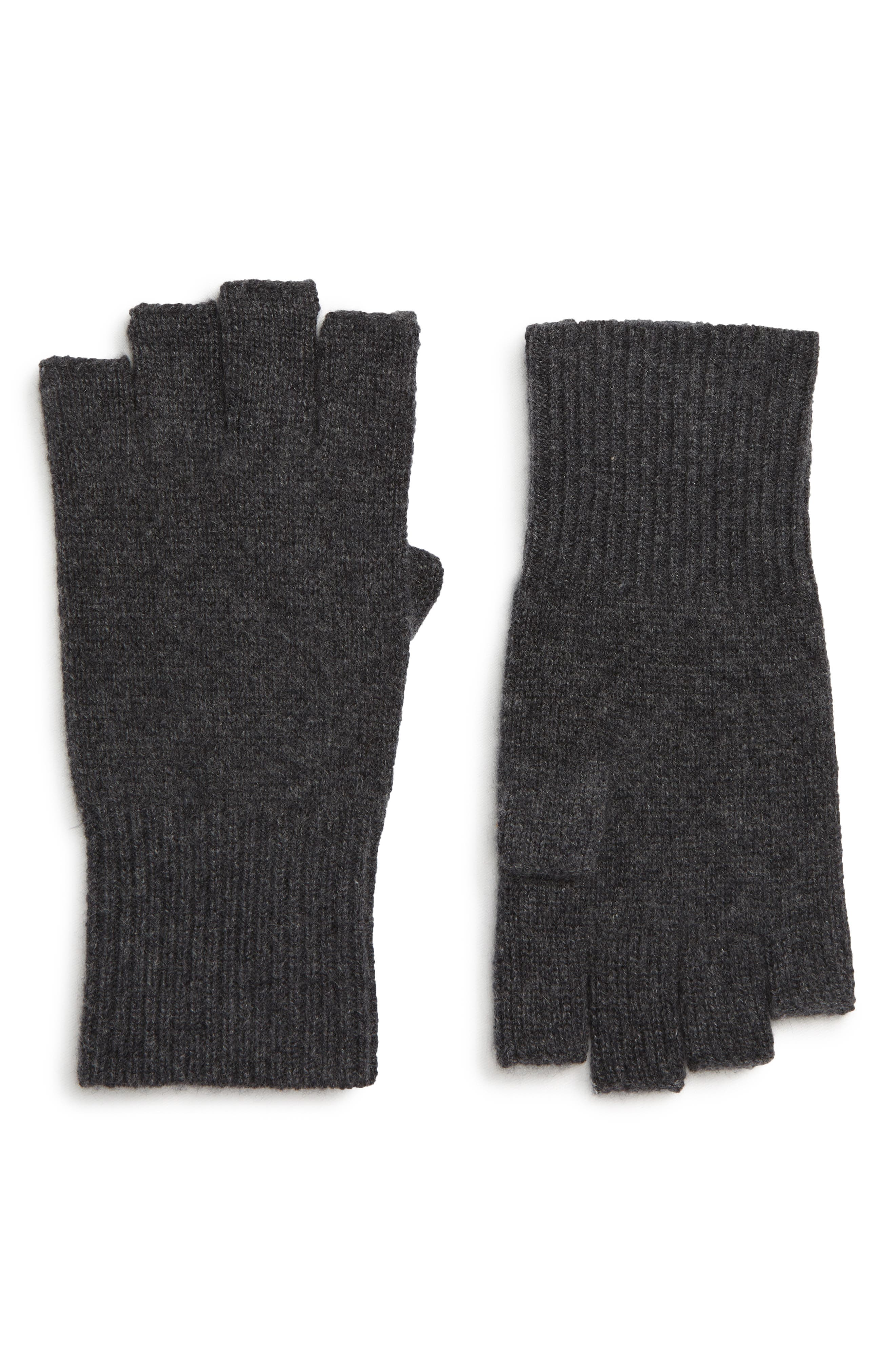 Cashmere Fingerless Gloves,                             Main thumbnail 1, color,                             GREY CHARCOAL HEATHER