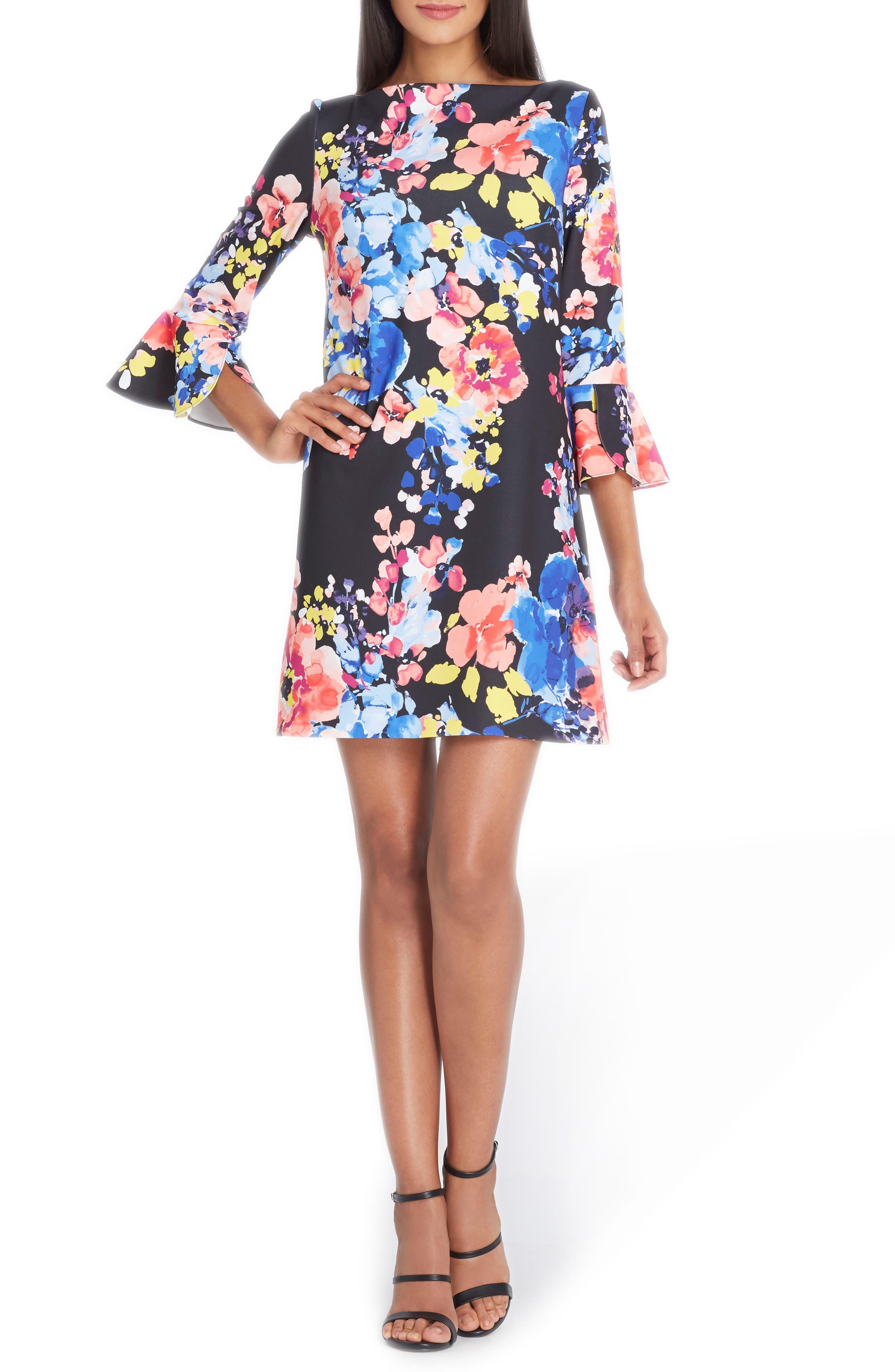 Flare Sleeve Shift Dress,                         Main,                         color, 017