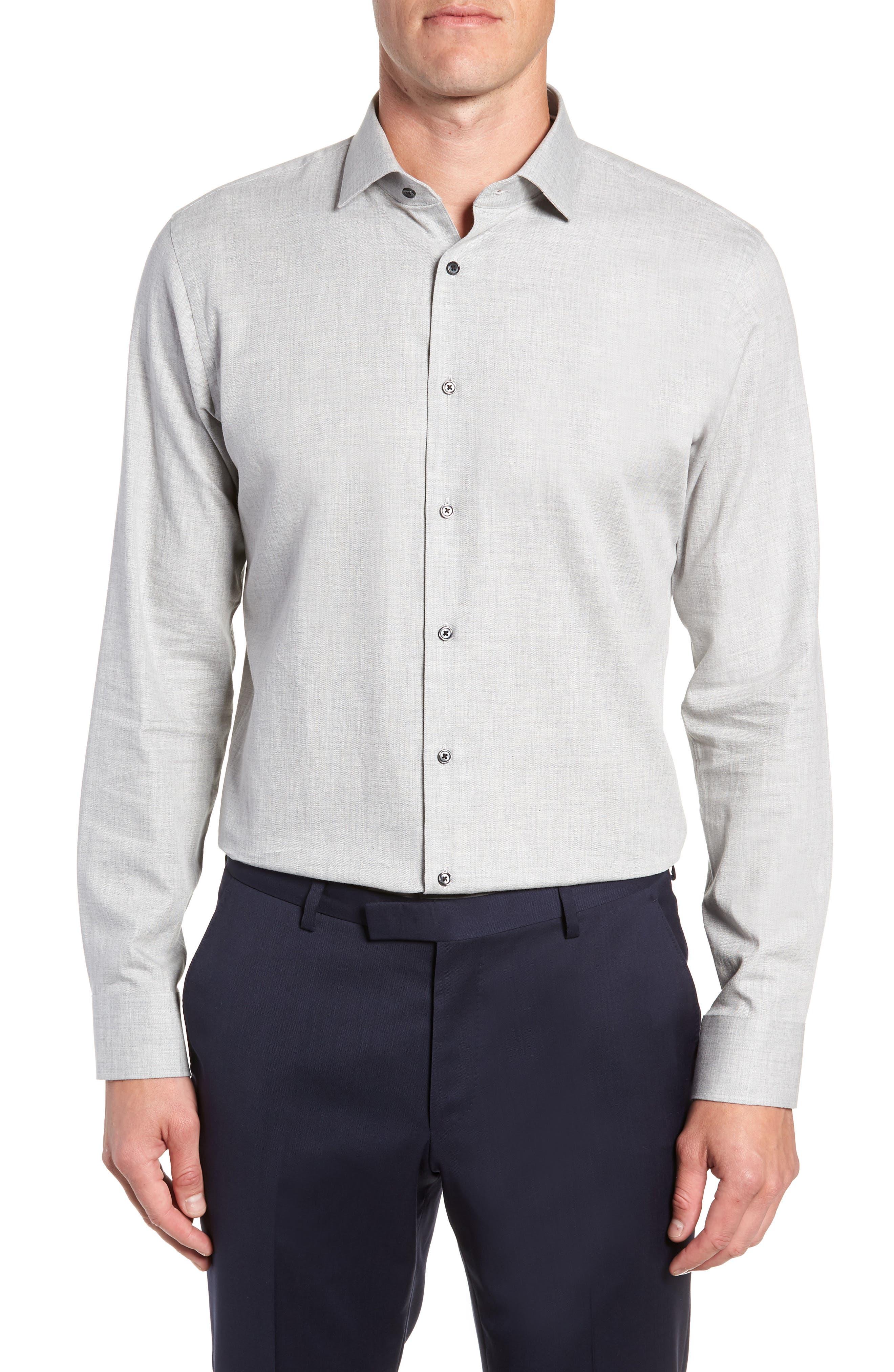 Trim Fit Herringbone Dress Shirt,                             Main thumbnail 1, color,                             GREY MICRO