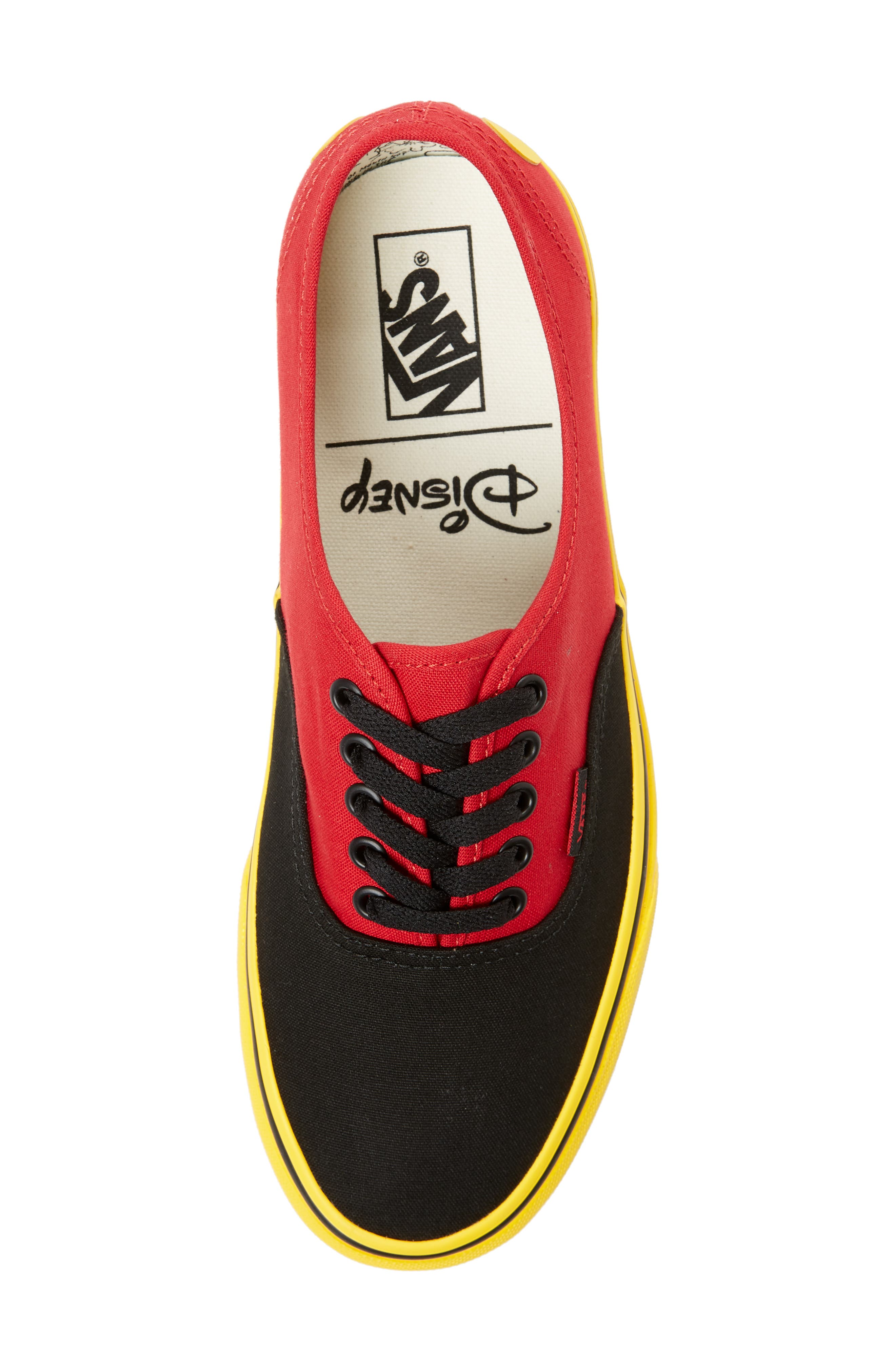 x Disney<sup>®</sup> Authentic Low Top Sneaker,                             Alternate thumbnail 5, color,                             DISNEY MICKEY/ RED/ YELLOW