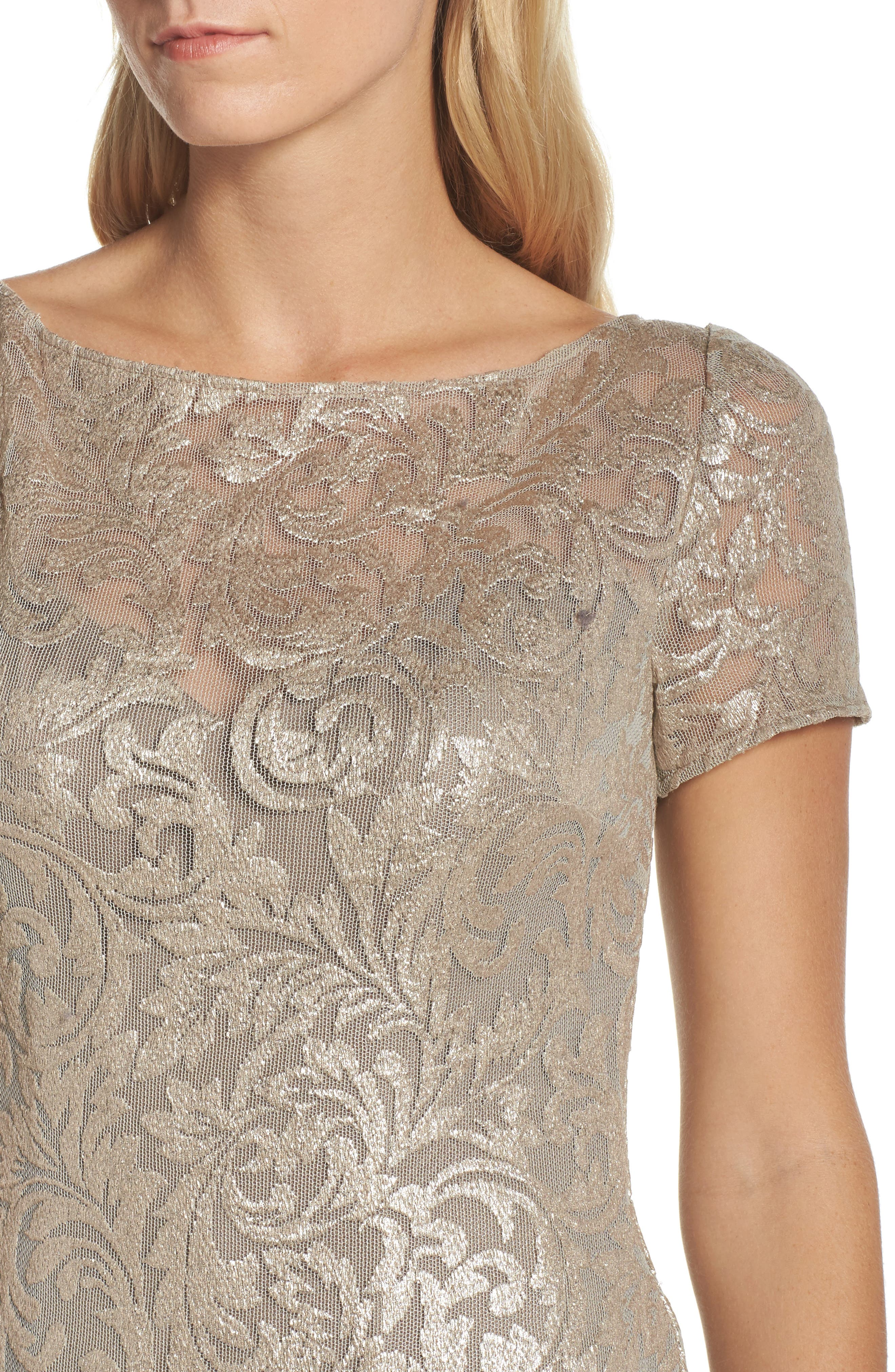 Shimmer Jacquard Gown,                             Alternate thumbnail 4, color,                             LIGHT GOLD