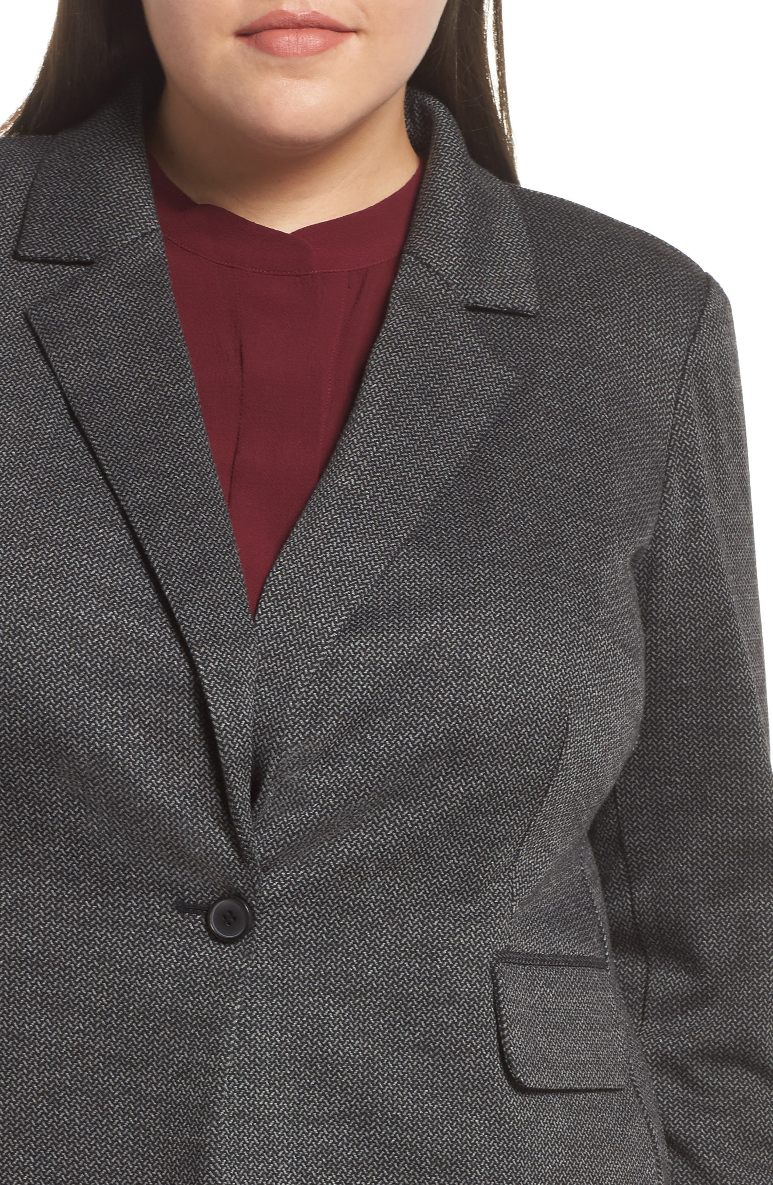 VINCE CAMUTO,                             Mélange Herringbone Single Button Blazer,                             Alternate thumbnail 4, color,                             RICH BLACK