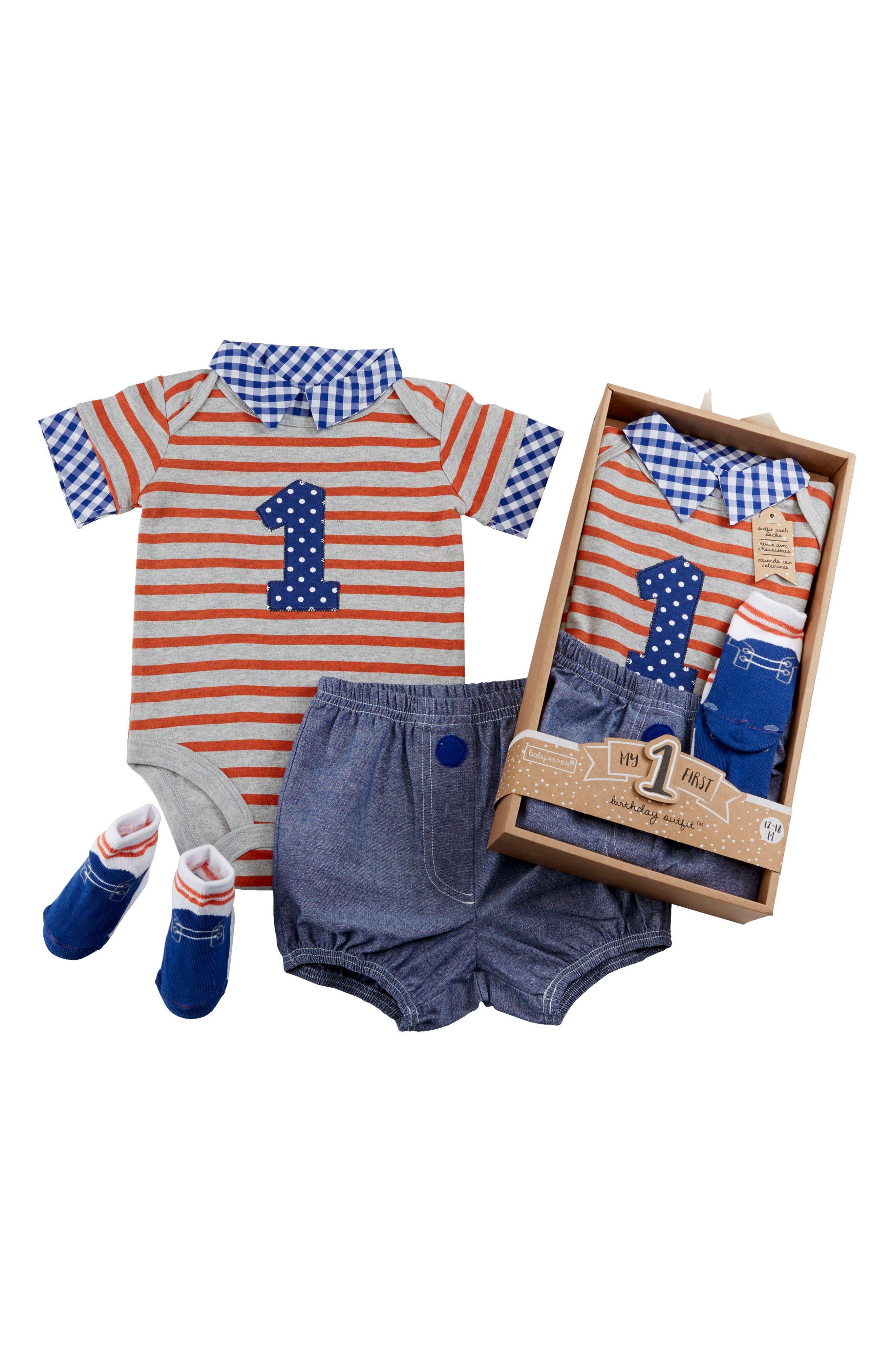My First Birthday Bodysuit, Shorts & Socks Set,                             Alternate thumbnail 2, color,                             BLUE MULTI