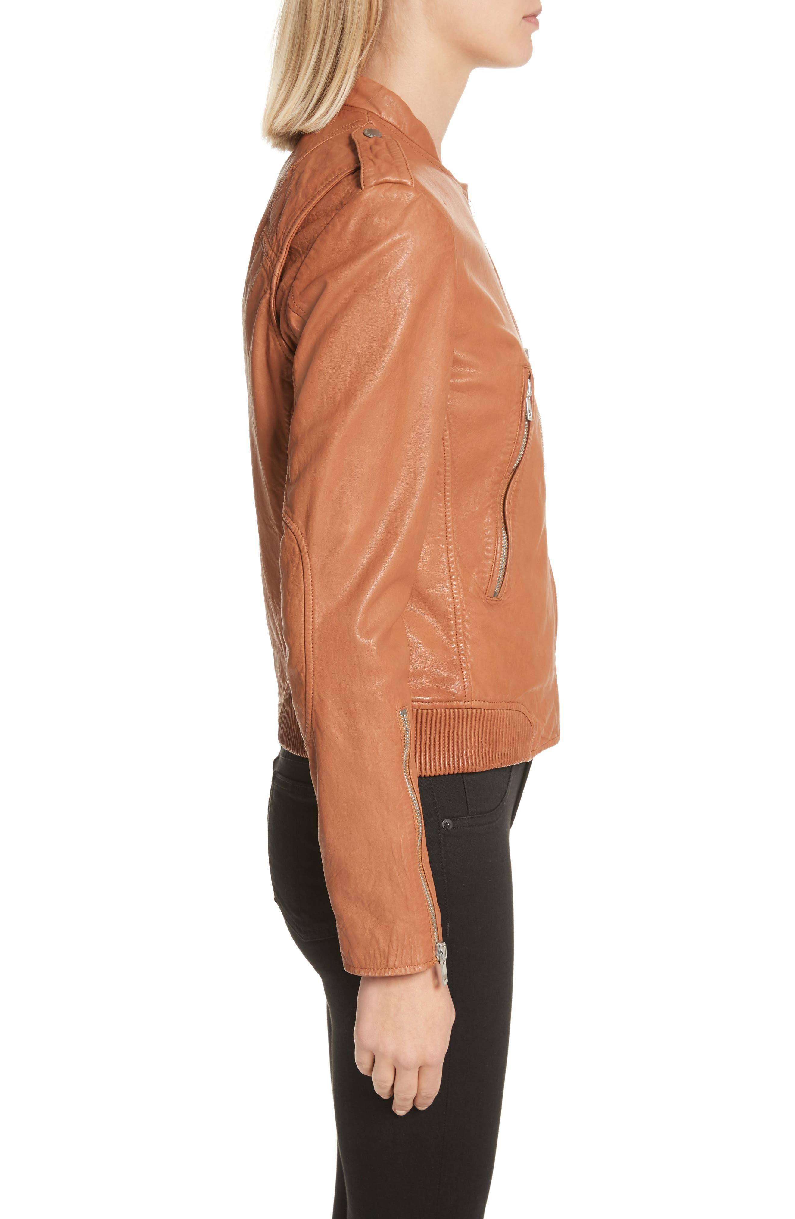 Lyon Leather Jacket,                             Alternate thumbnail 3, color,                             200