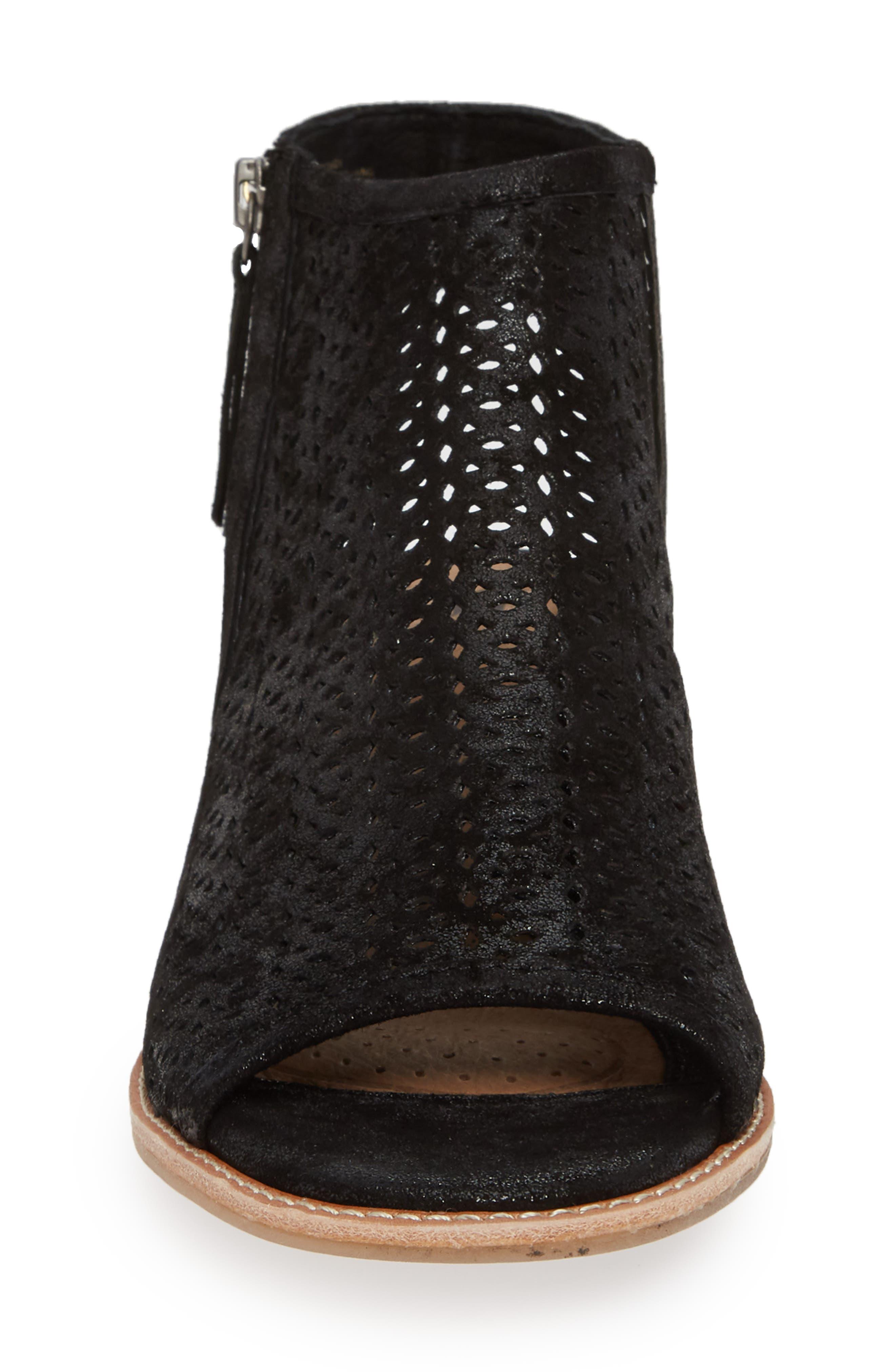 Natesa Perforated Sandal,                             Alternate thumbnail 4, color,                             BLACK SUEDE