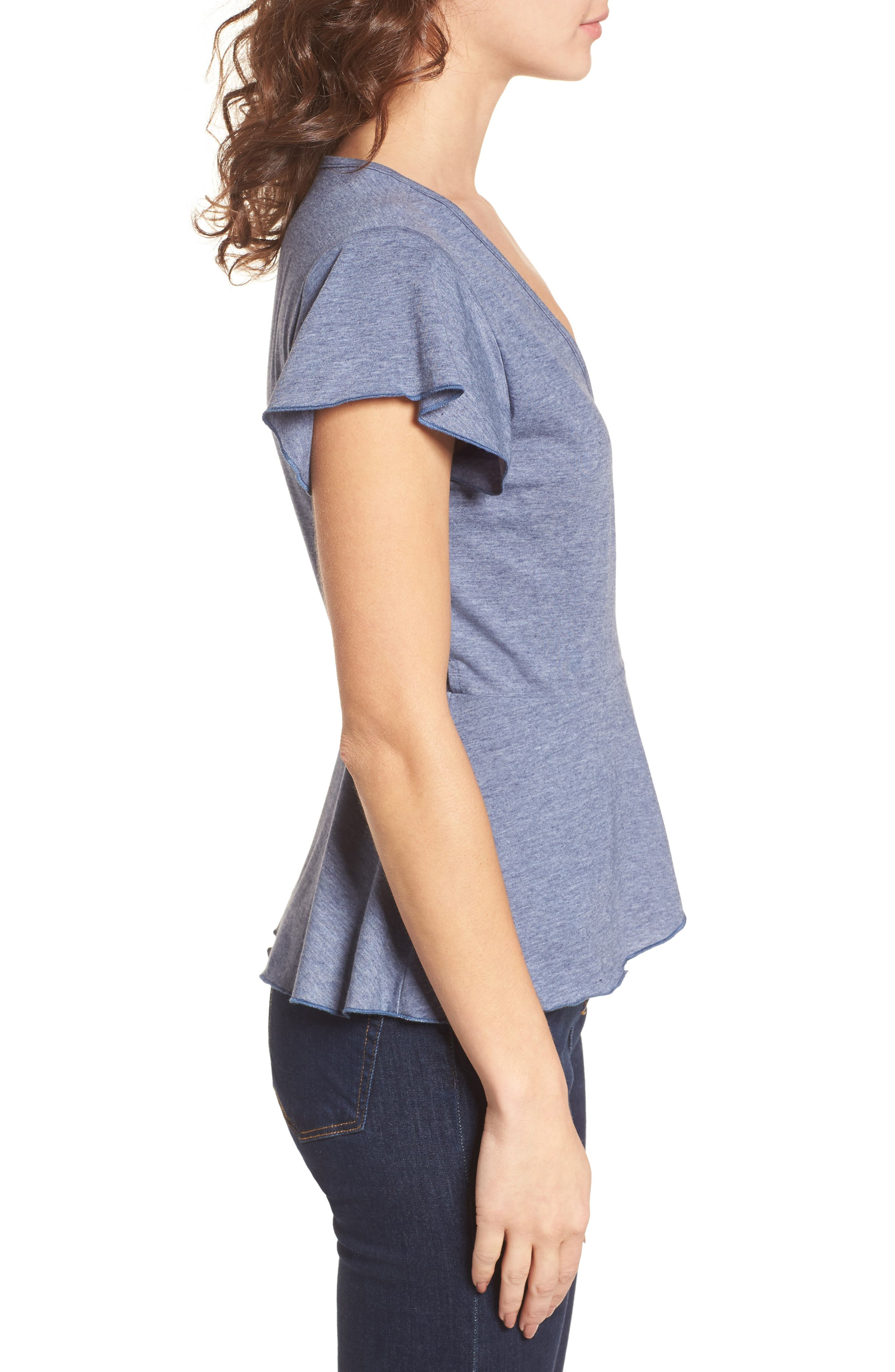 Wrap Peplum Tee,                             Alternate thumbnail 3, color,                             410