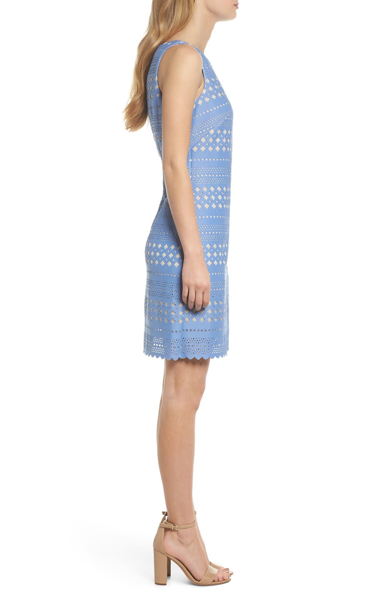 Laser Cut Sheath Dress,                             Alternate thumbnail 3, color,                             453