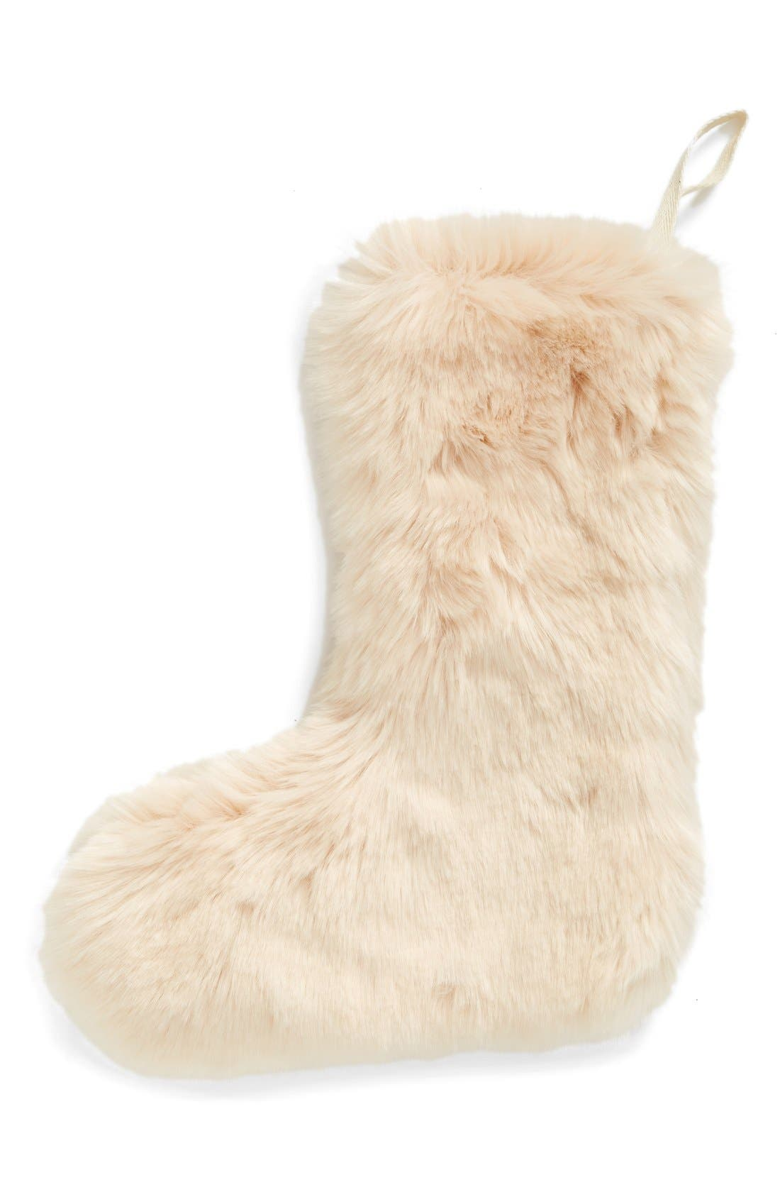 'Cuddle Up' Faux Fur Christmas Stocking,                             Main thumbnail 3, color,