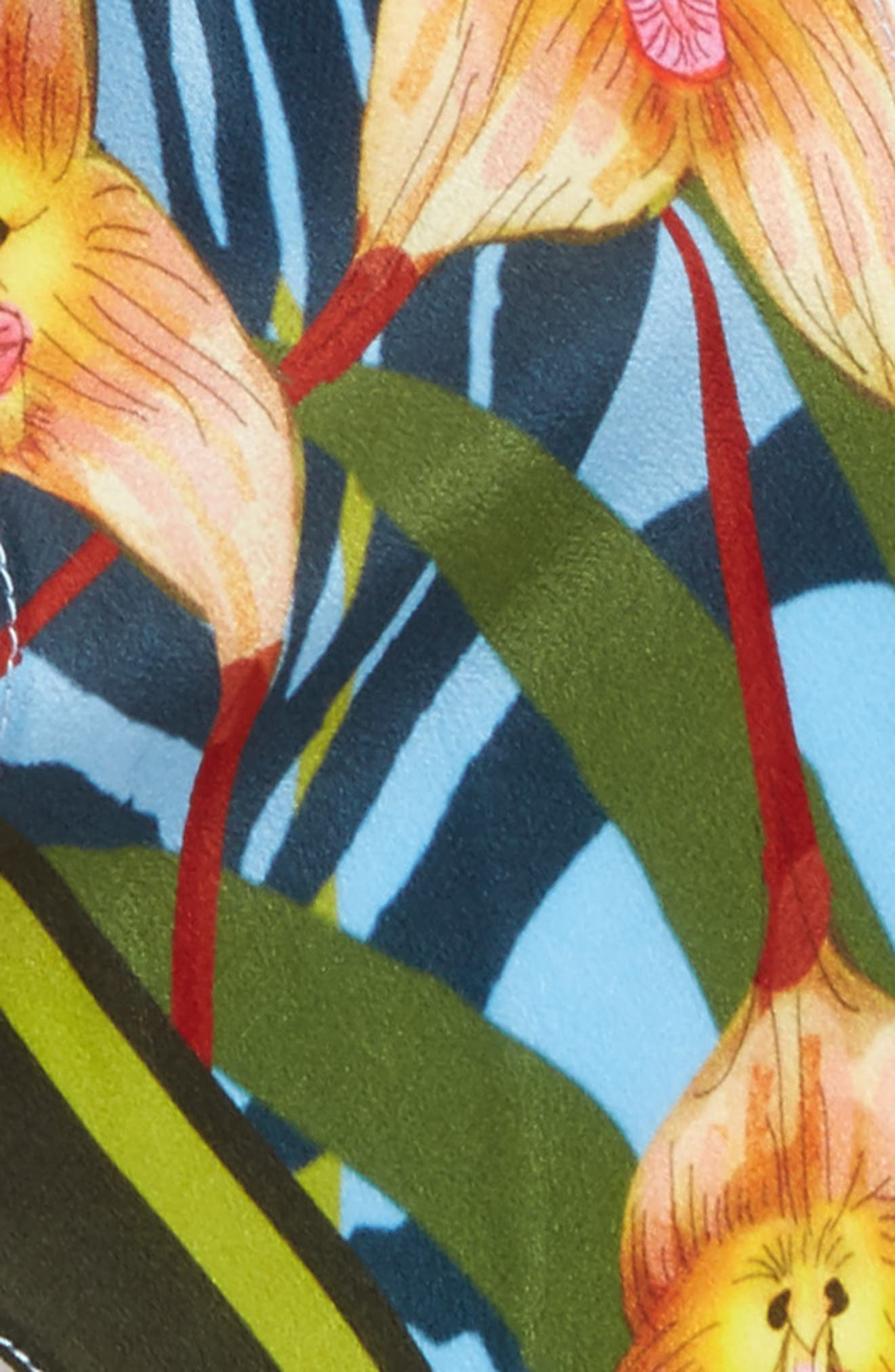 Monkey Orchid Skinny Silk Scarf,                             Alternate thumbnail 3, color,                             400