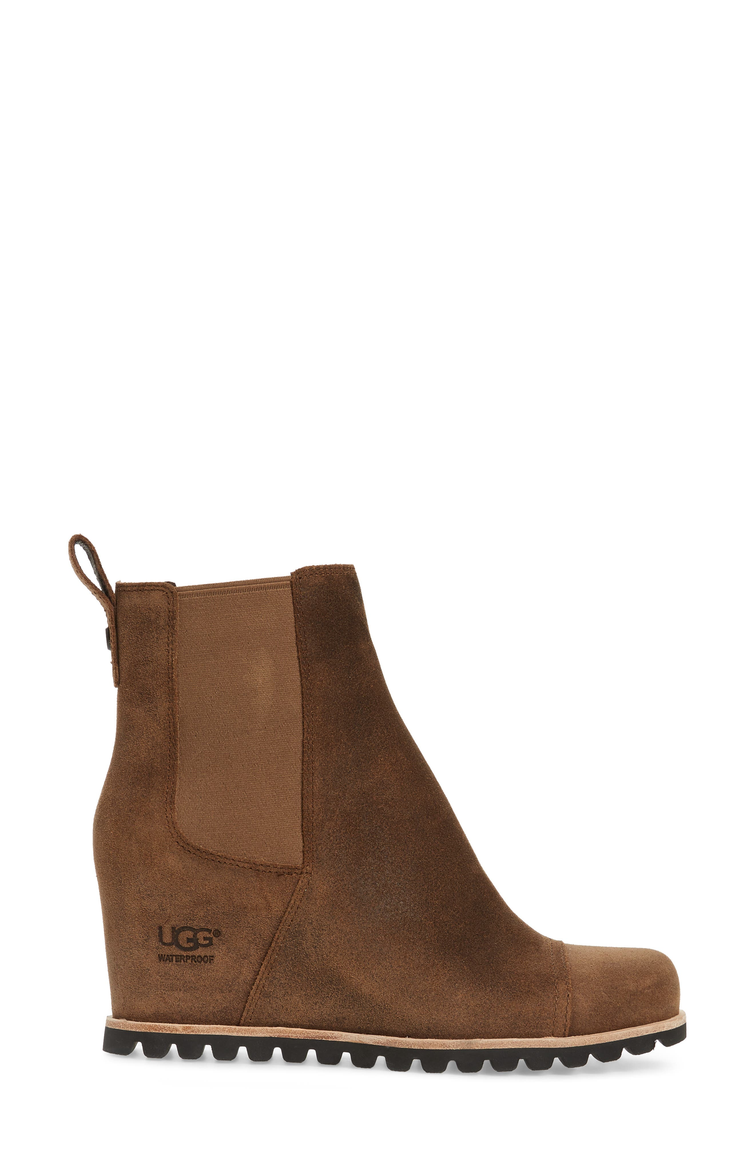 Pax Waterproof Wedge Boot,                             Alternate thumbnail 3, color,                             CHIPMUNK LEATHER