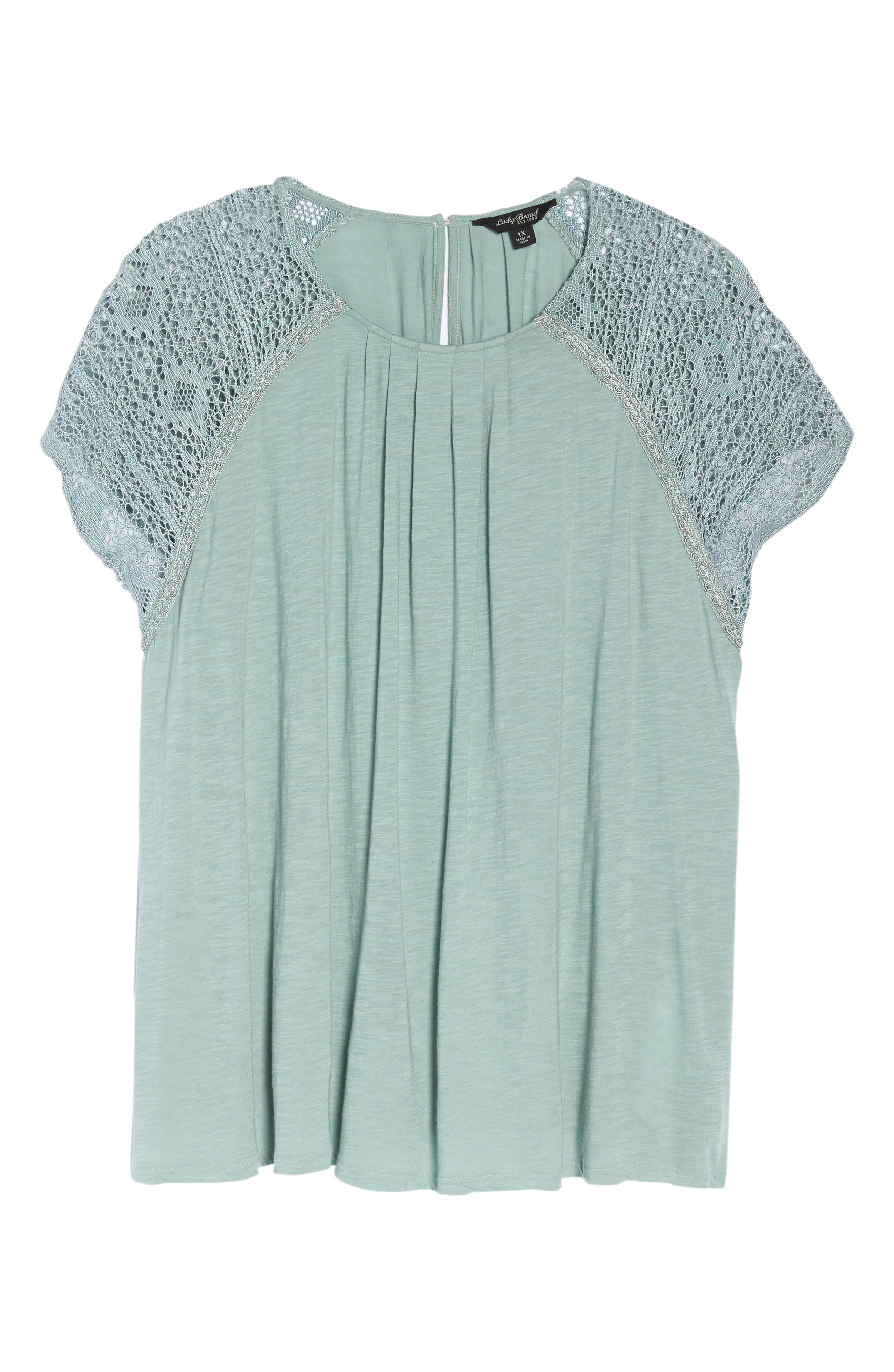 Lace Sleeve Top,                             Alternate thumbnail 6, color,                             ICEBERG GREEN