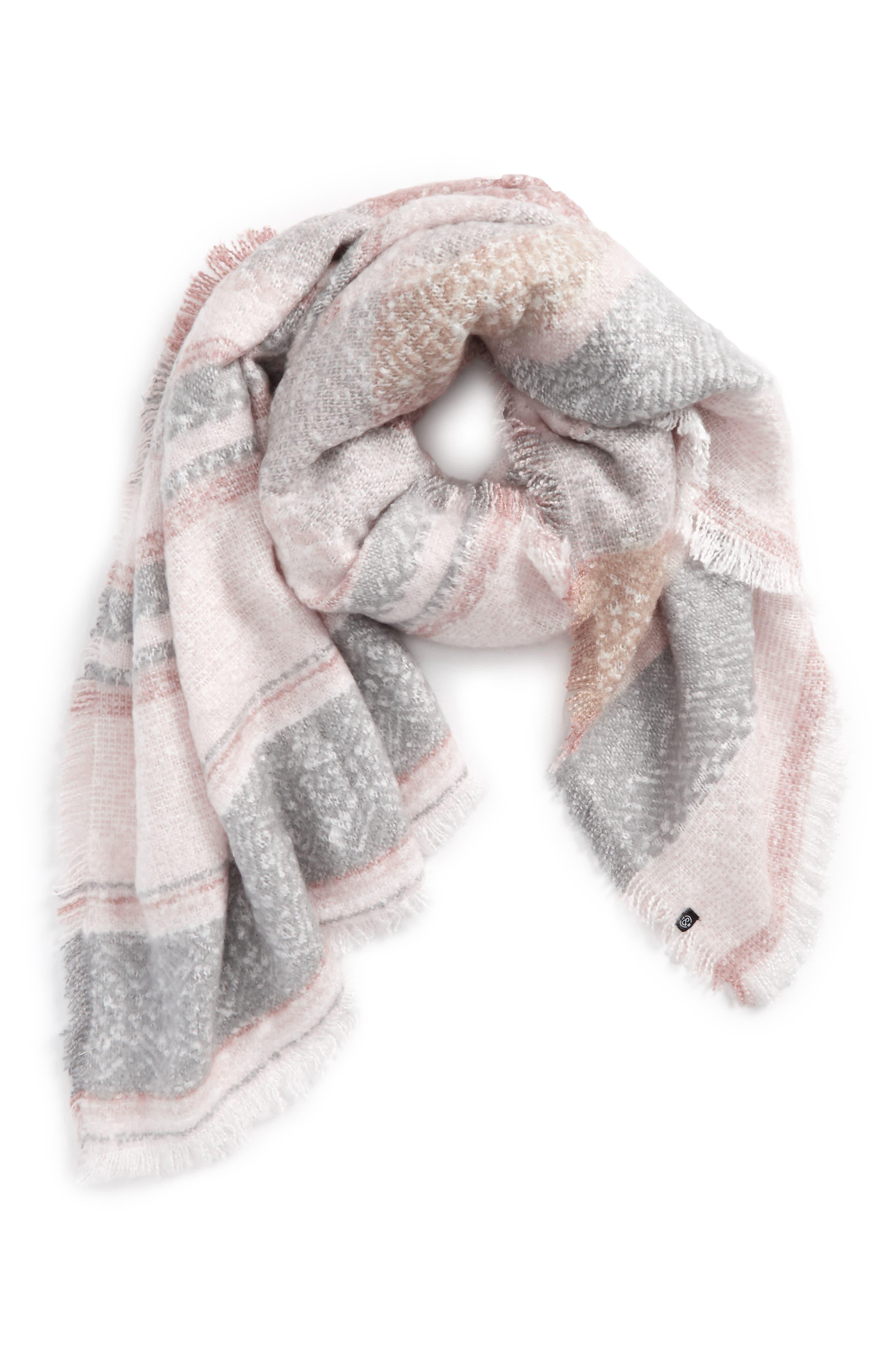 Brushed Stripe Blanket Wrap,                             Main thumbnail 1, color,                             900