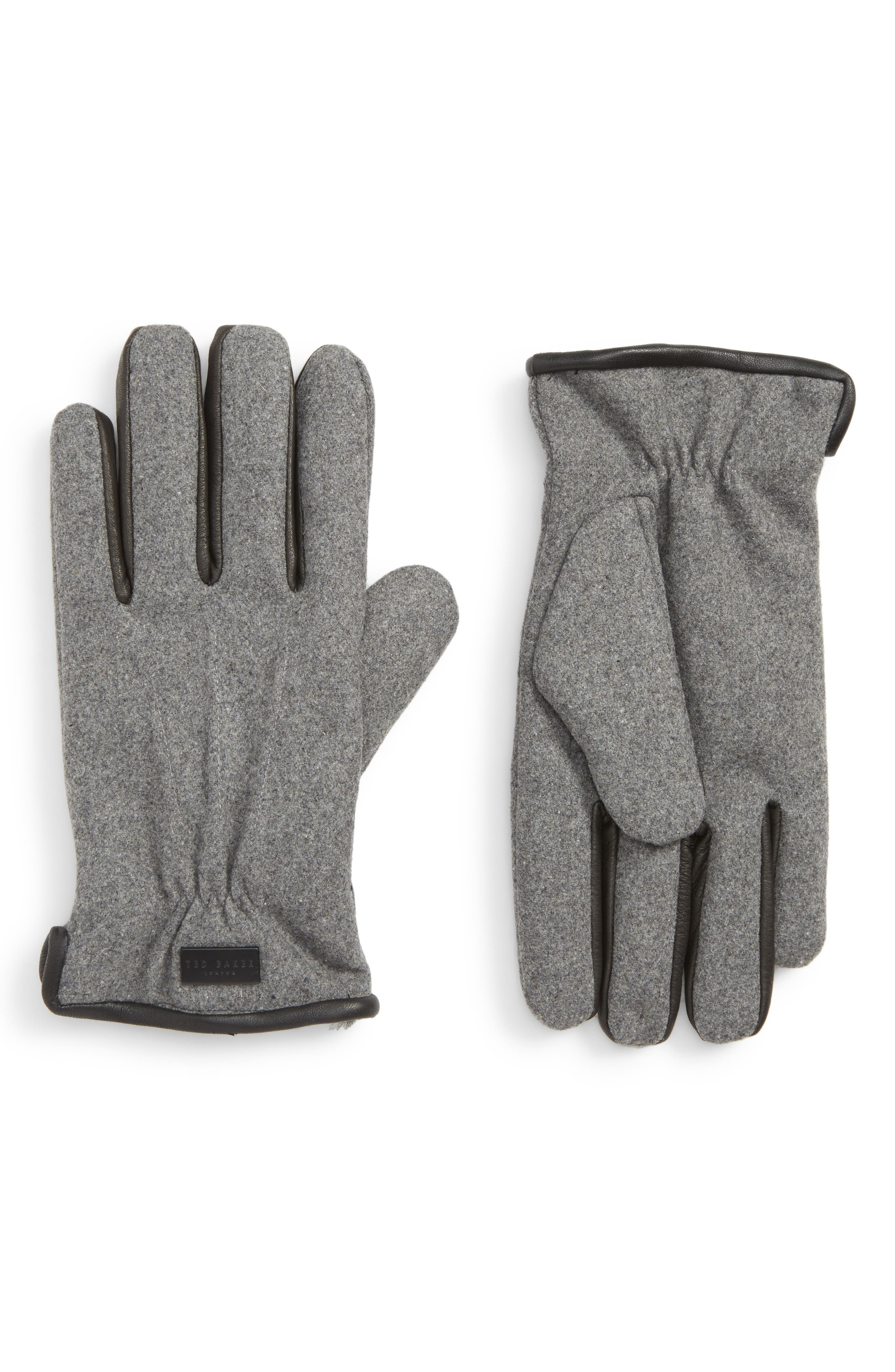 Ted Baker London Wool Lined Gloves, Grey