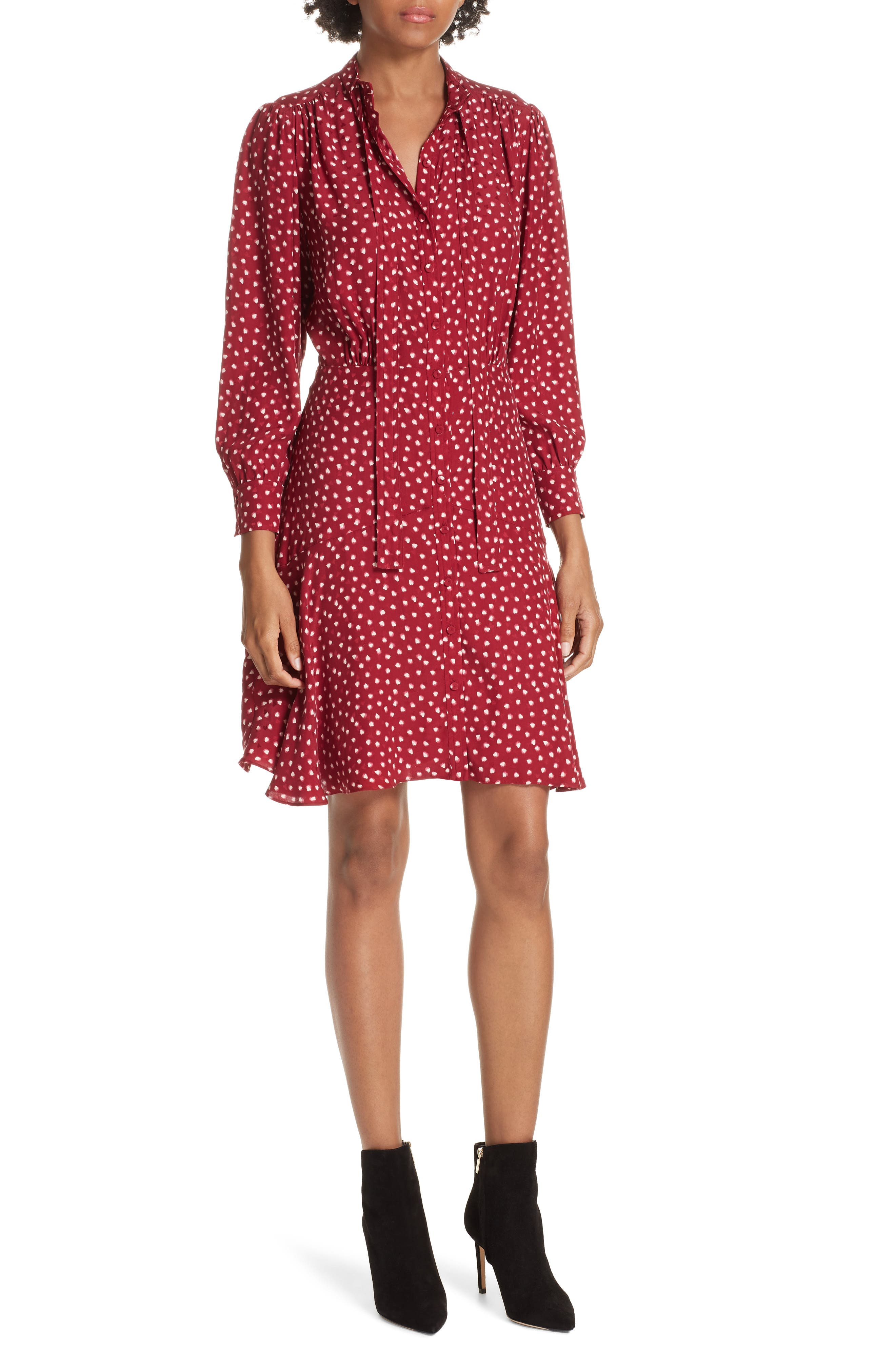 REBECCA TAYLOR Dot Print Fit & Flare Dress, Main, color, 602
