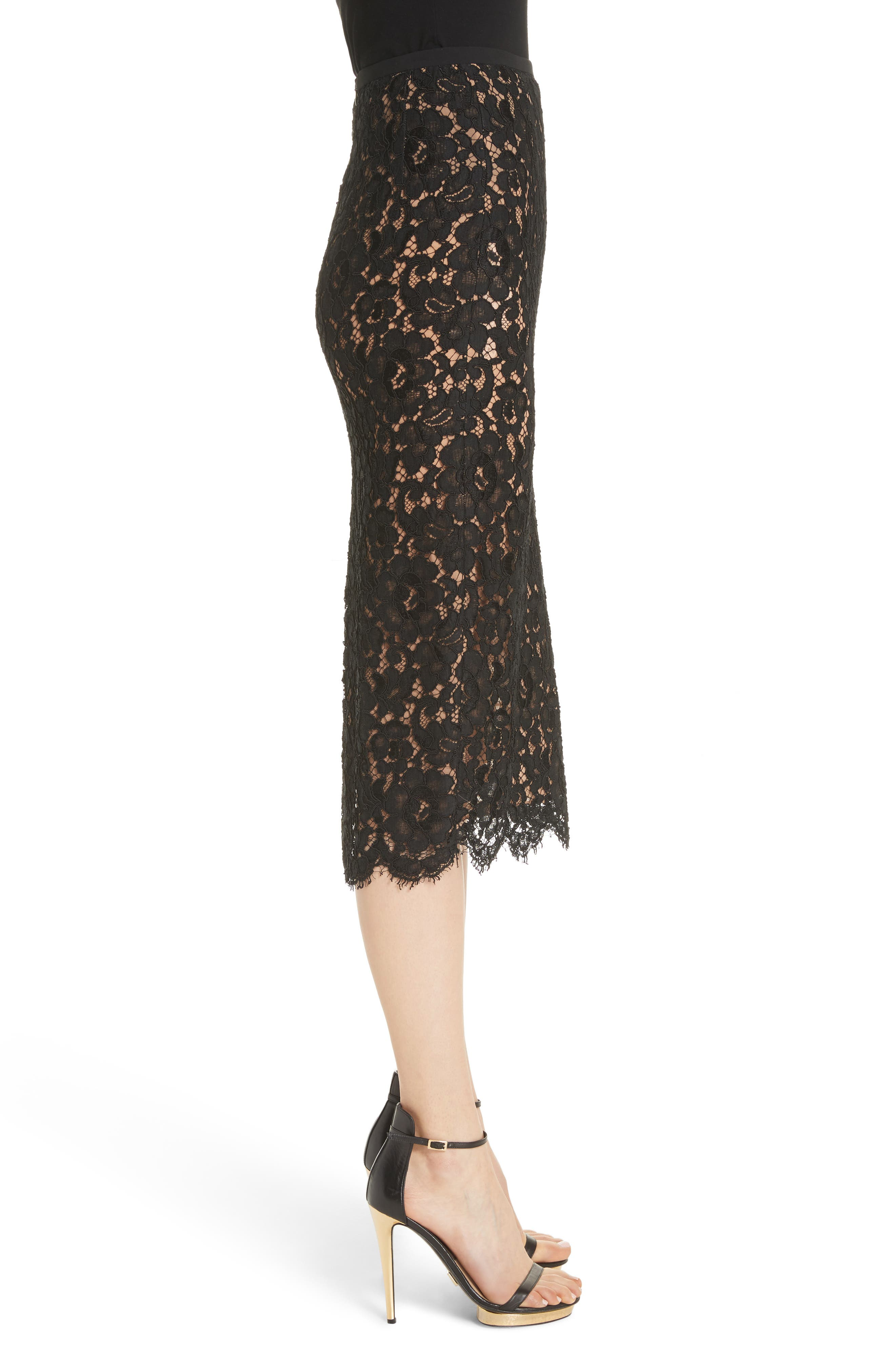 Lace Pencil Skirt,                             Alternate thumbnail 3, color,                             BLACK