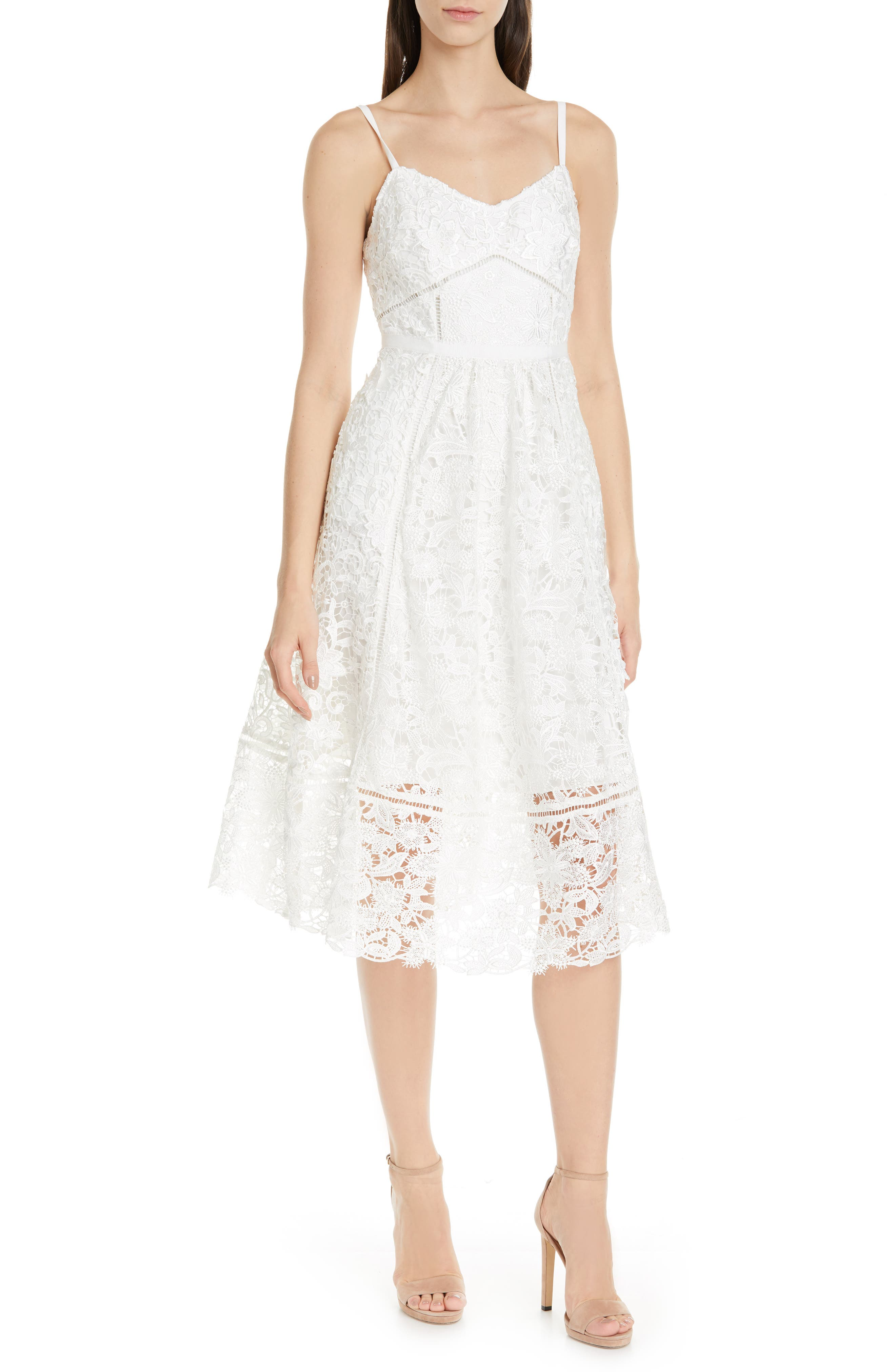Ted Baker London Valens Lace Midi Dress, White