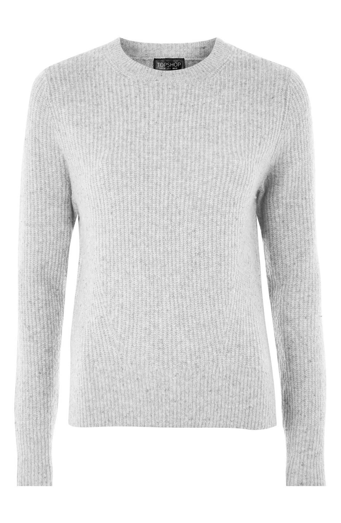 Ribbed Crewneck Sweater,                             Alternate thumbnail 8, color,