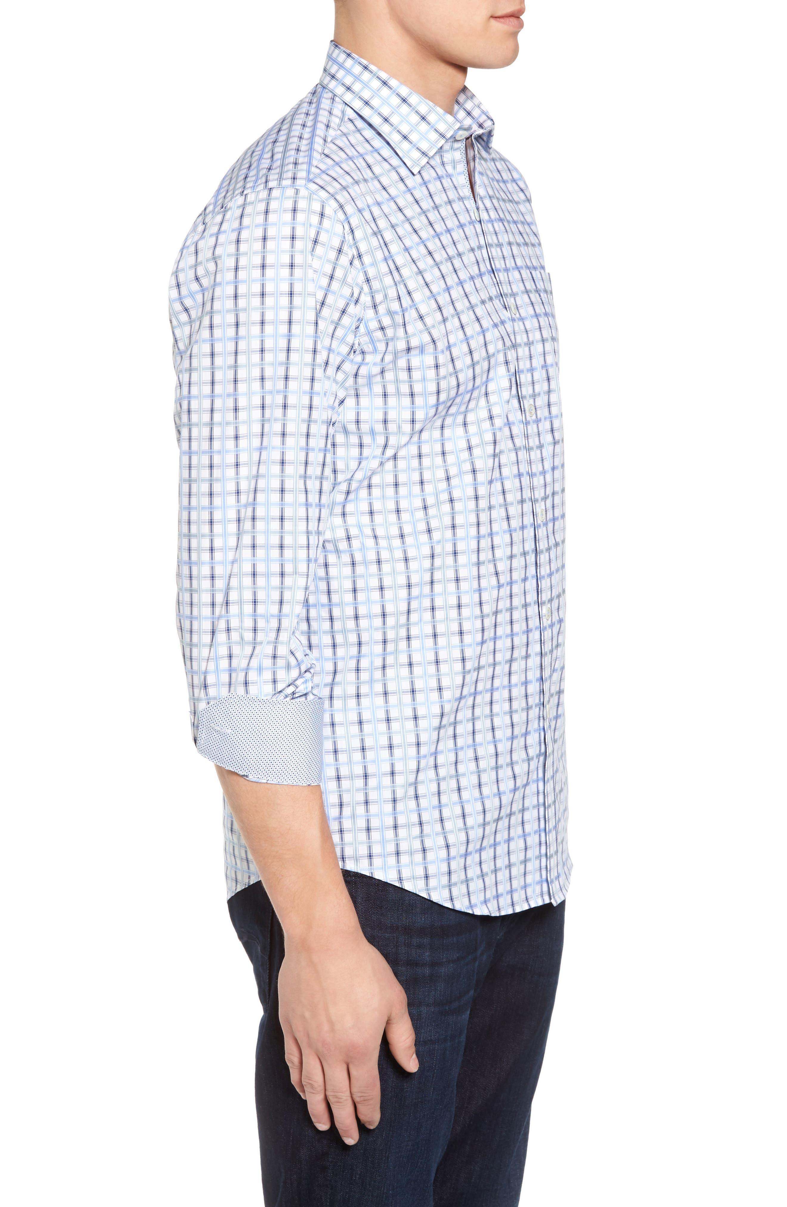 Classic Fit Check Sport Shirt,                             Alternate thumbnail 3, color,                             420
