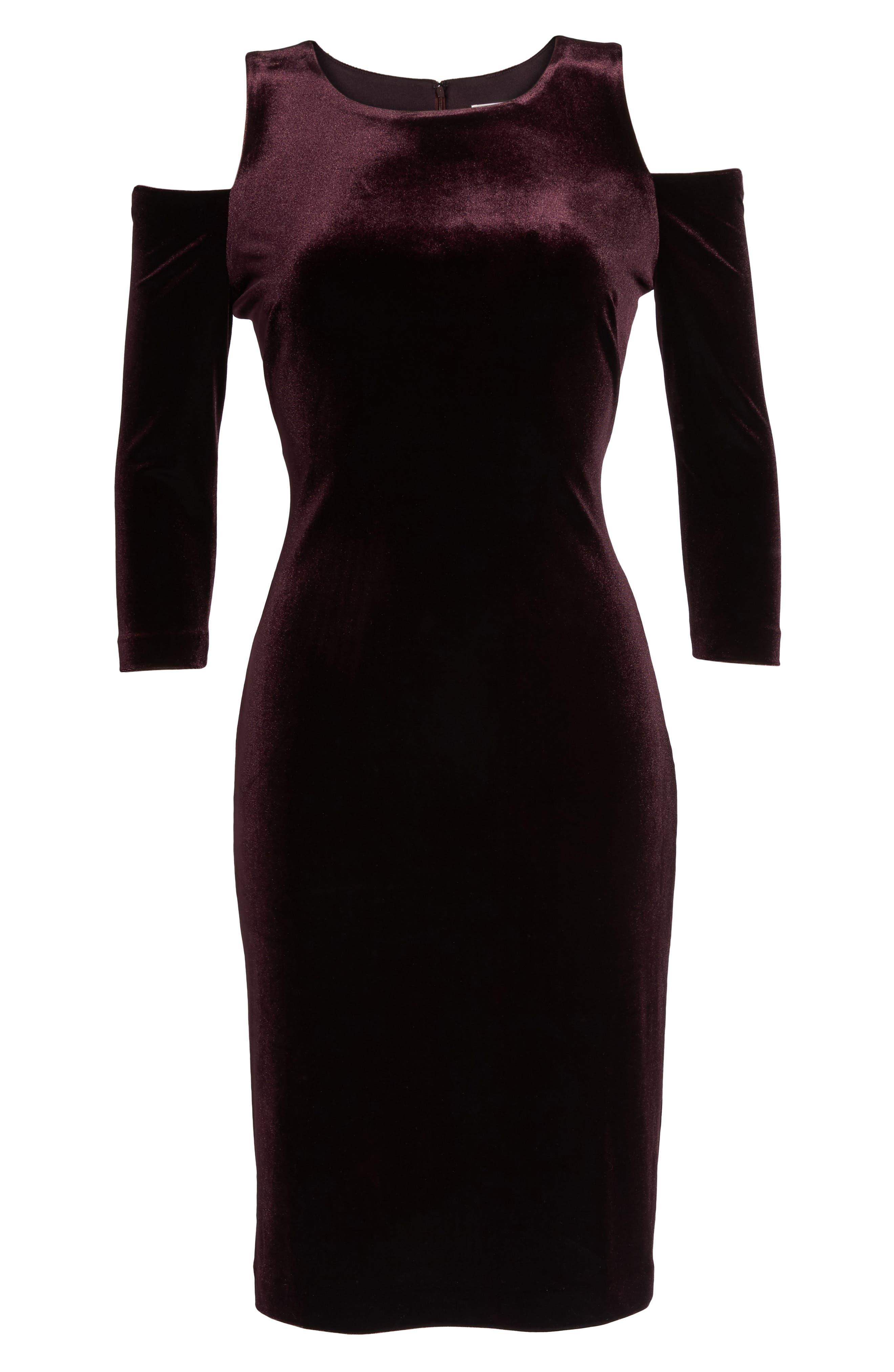 Cold Shoulder Velvet Sheath Dress,                             Alternate thumbnail 12, color,