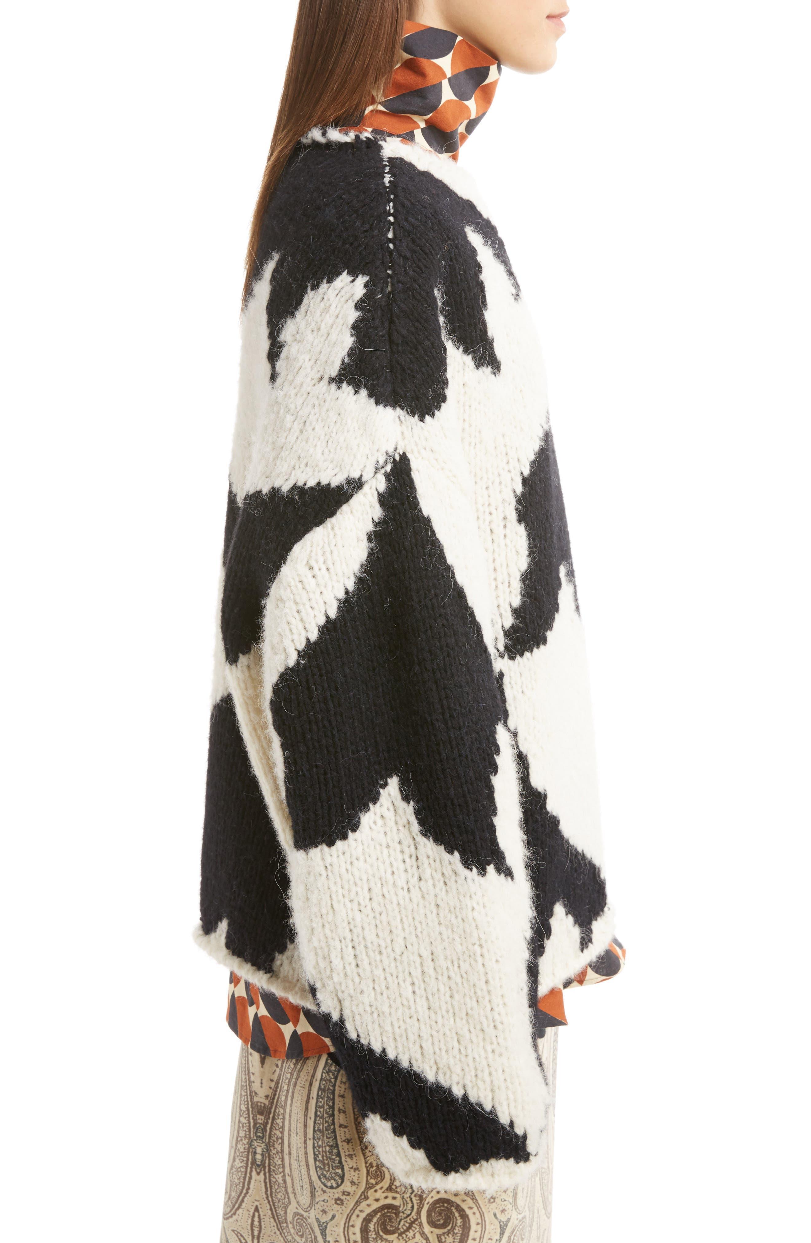 Geo Intarsia Wool Blend Sweater,                             Alternate thumbnail 3, color,                             900