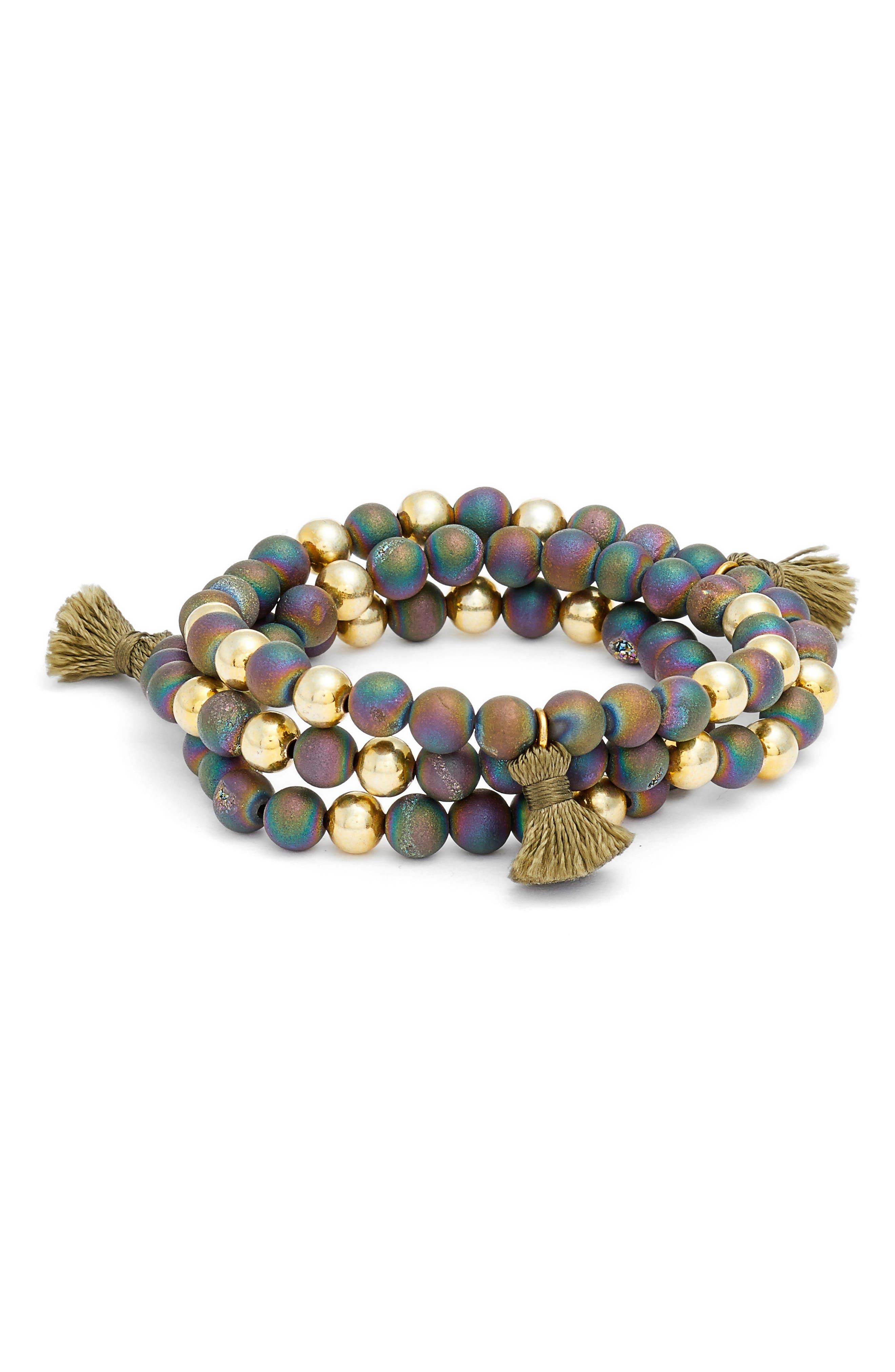 Hannah Drusy Tassel Wrap Bracelet,                             Main thumbnail 3, color,