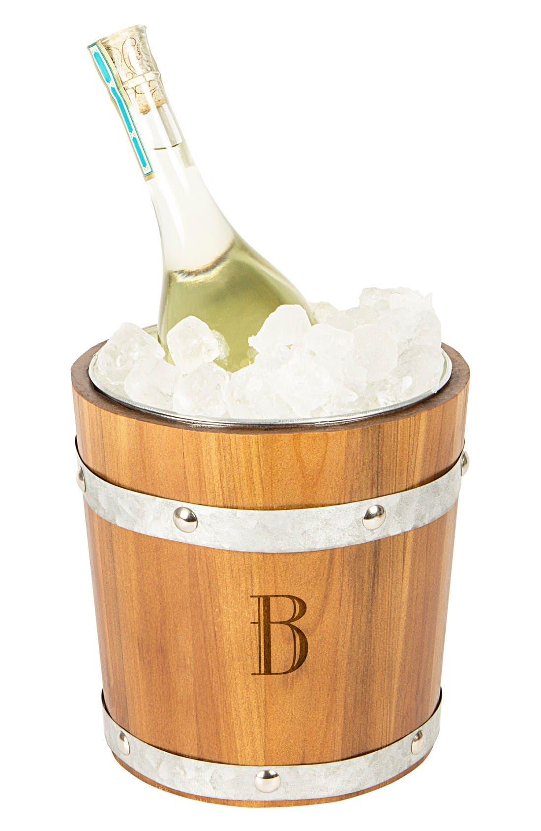 Rustic Monogram Ice Bucket,                             Main thumbnail 3, color,