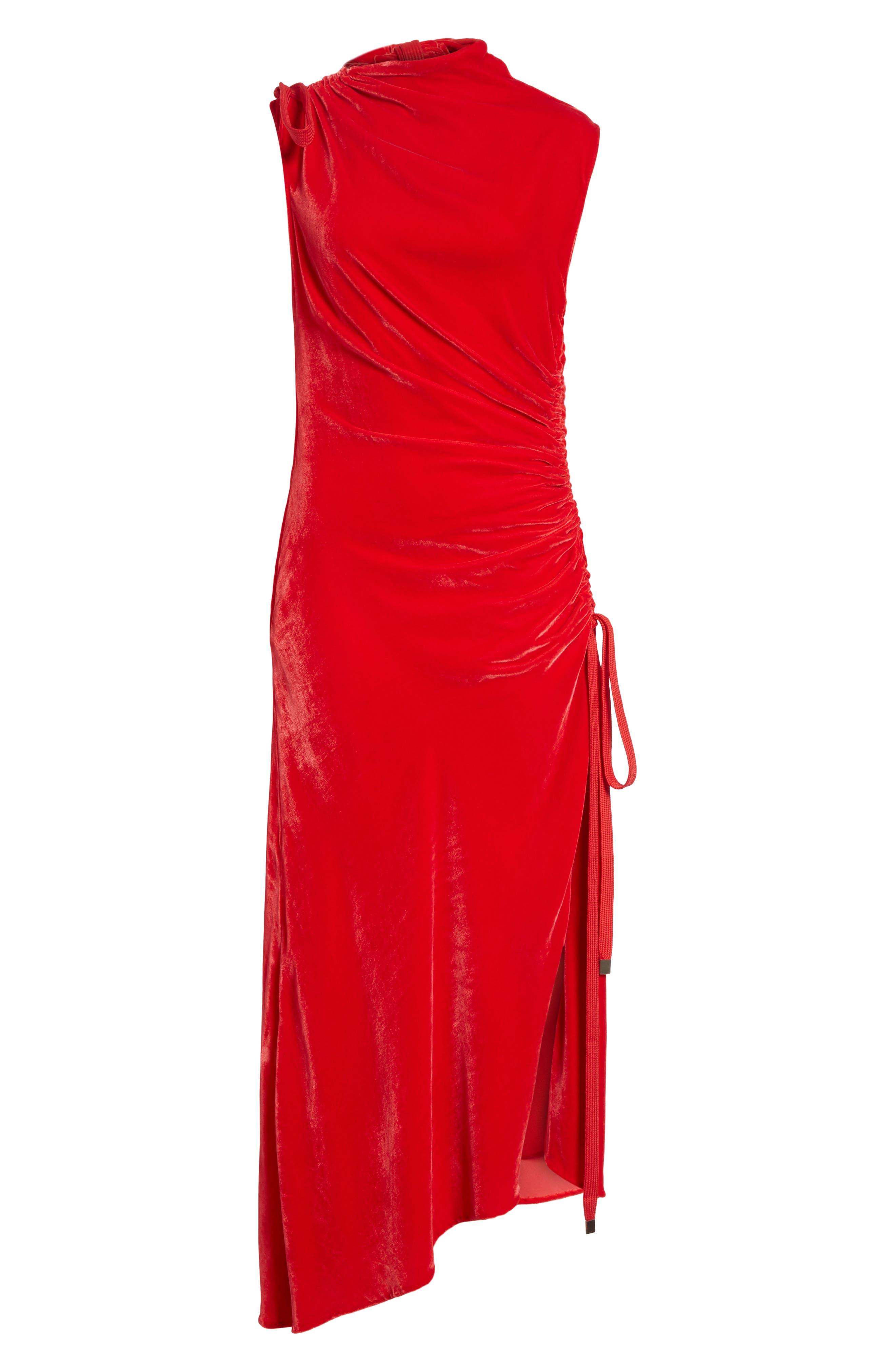 Drawstring Velvet Dress,                             Alternate thumbnail 6, color,                             600
