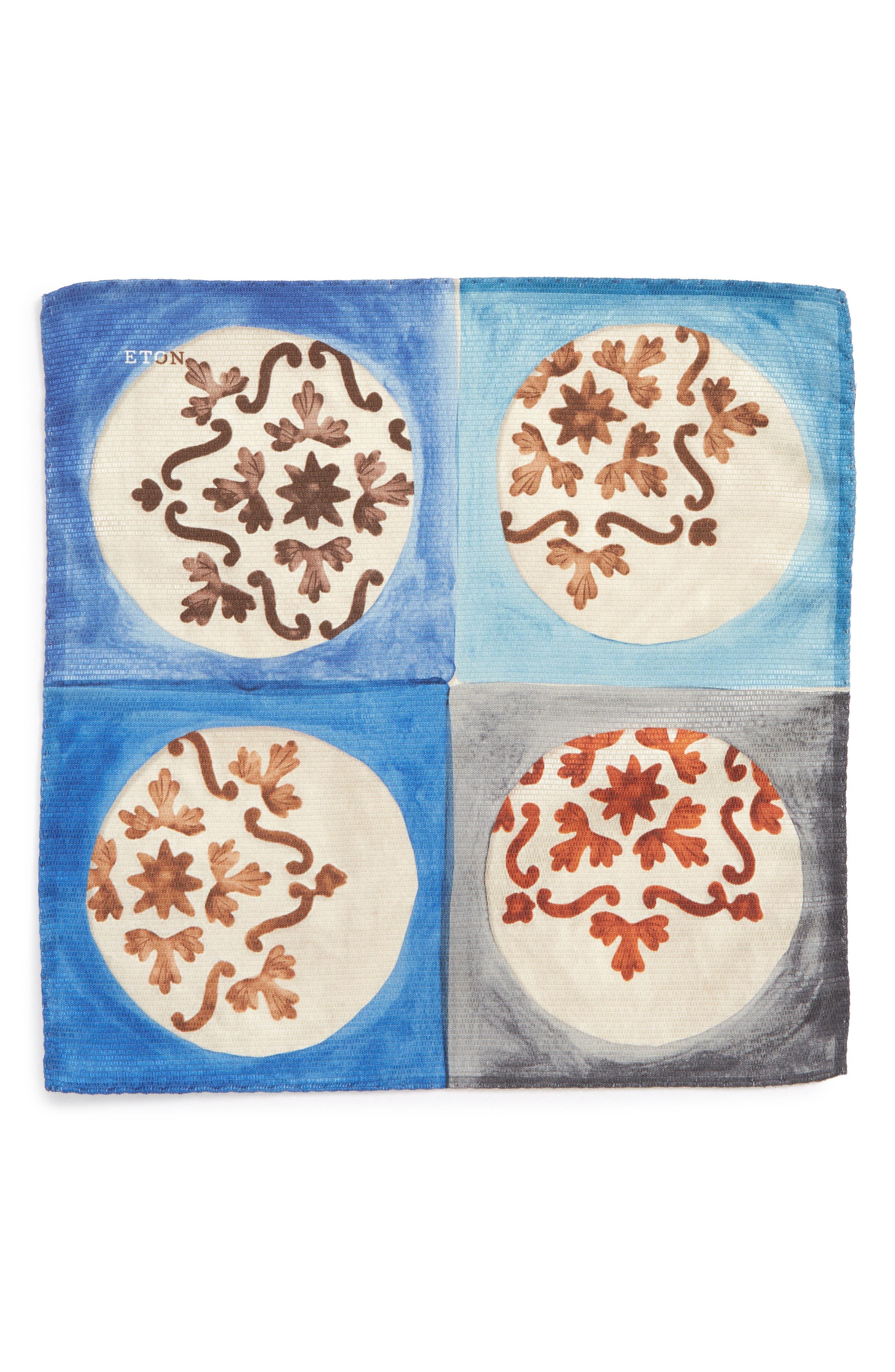 Geometric Ship Silk Pocket Square,                             Alternate thumbnail 2, color,                             020