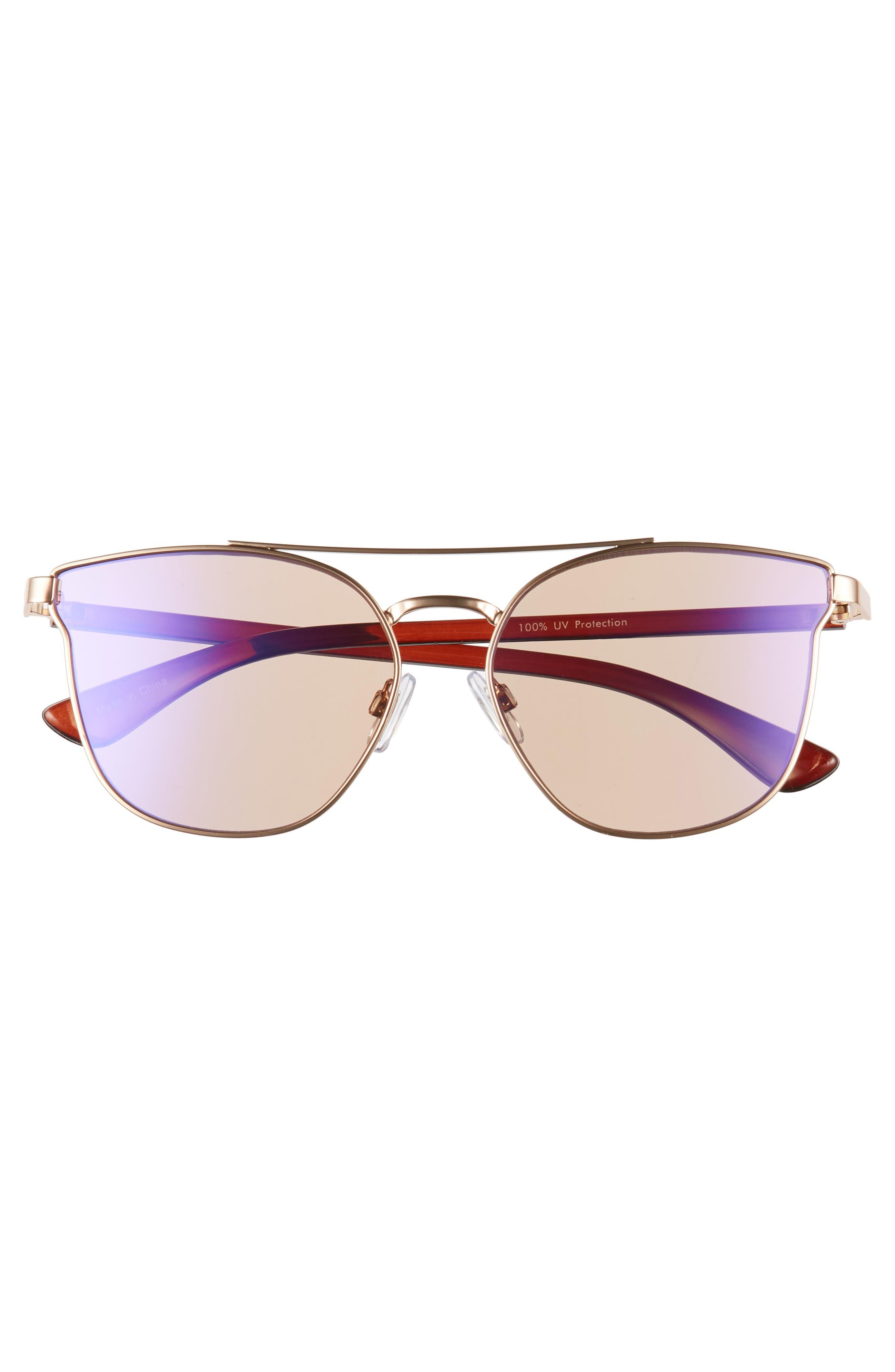 56mm Flat Mirrored Aviator Sunglasses,                             Alternate thumbnail 3, color,                             BRONZE/ BROWN
