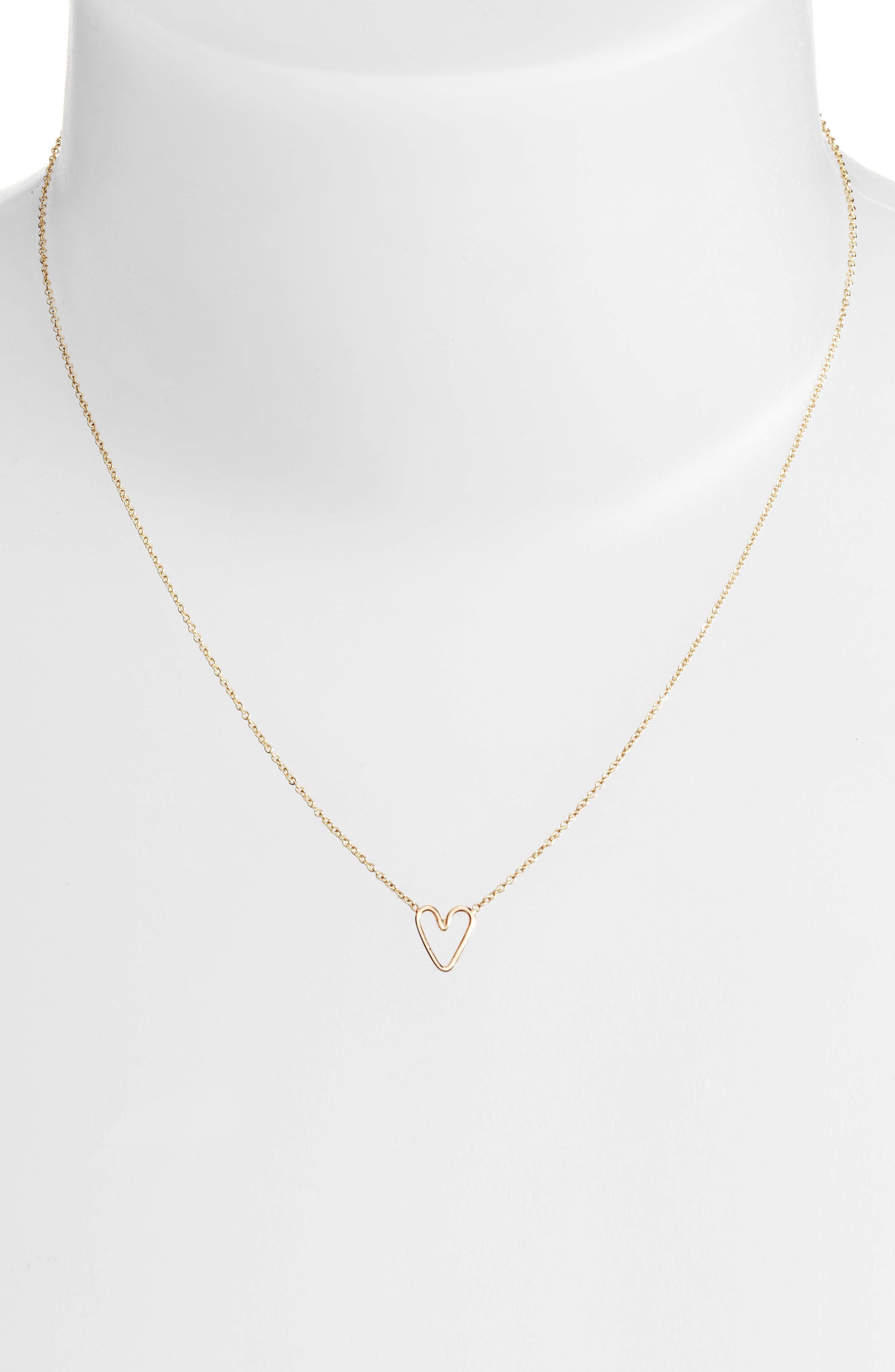 Tiny Open Heart Pendant Necklace,                             Alternate thumbnail 2, color,                             YELLOW GOLD