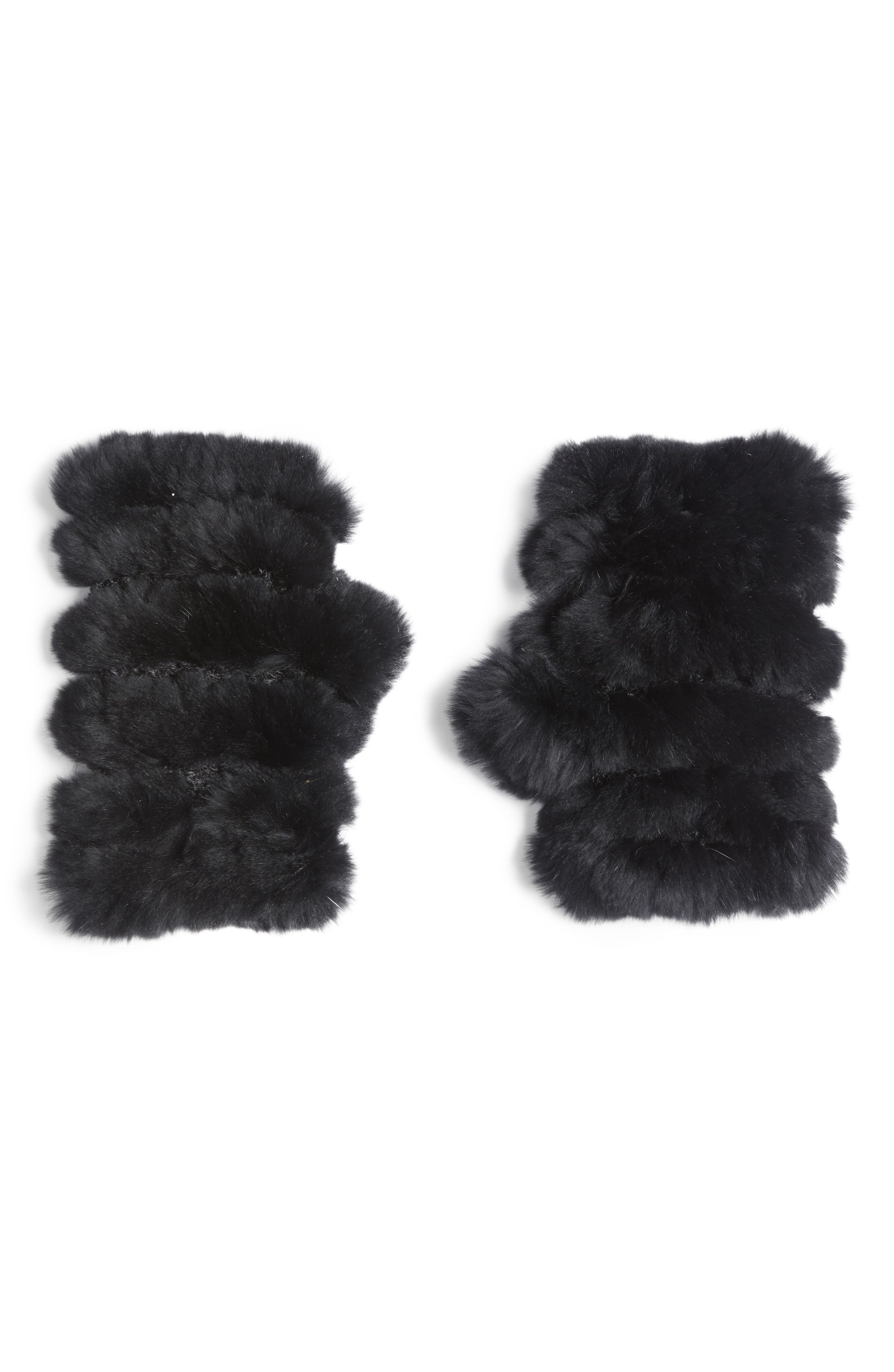 Genuine Rabbit Fur Fingerless Knit Mittens,                         Main,                         color, 001