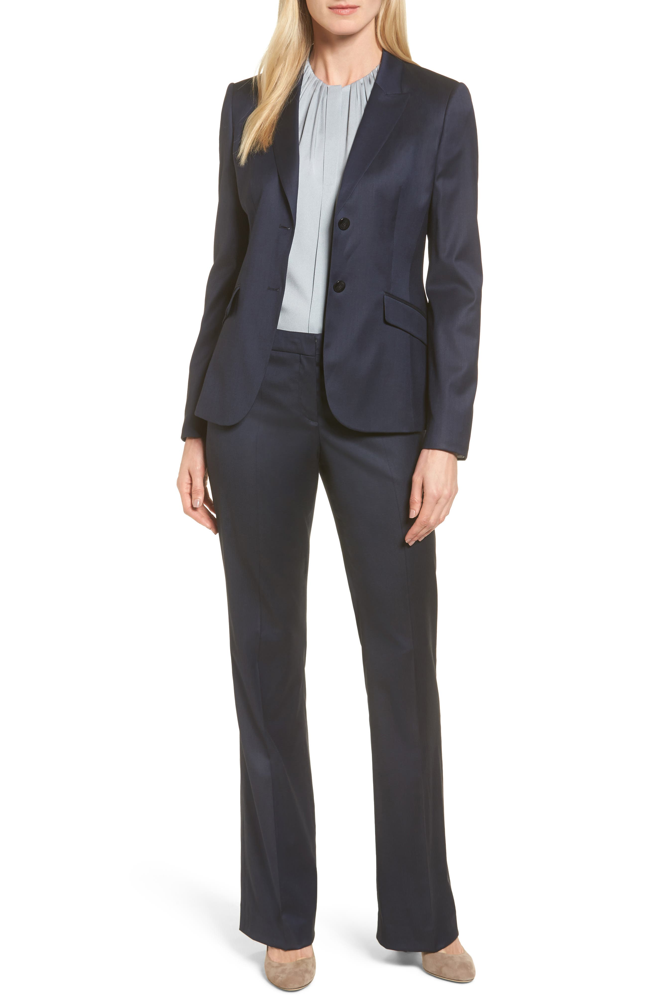 Stretch Wool Blend Suit Trousers,                             Alternate thumbnail 7, color,                             424