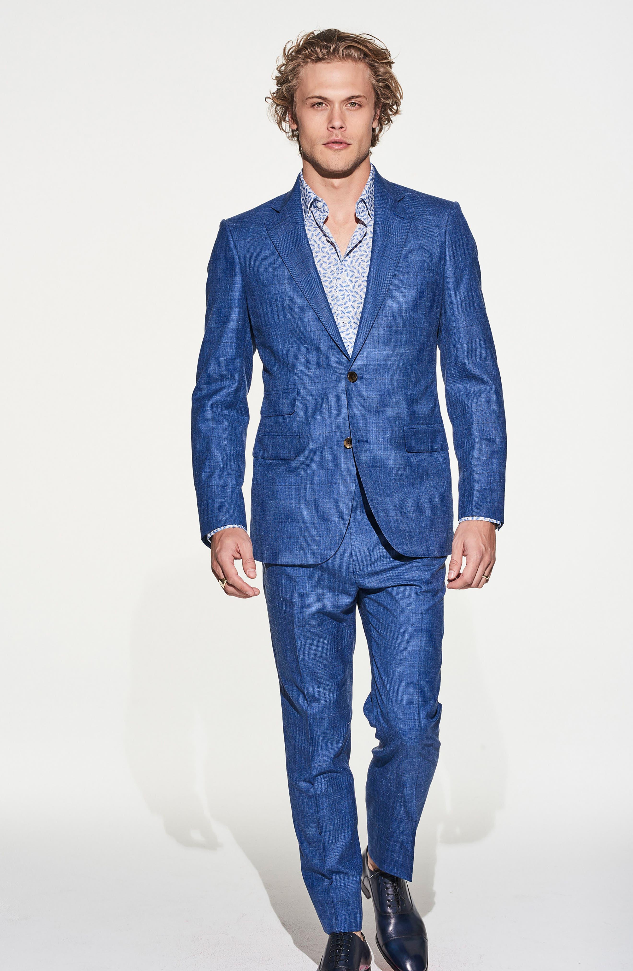 by Ilaria Urbinati Kilgore Slim Fit Plaid Wool Blend Suit,                             Alternate thumbnail 7, color,                             425