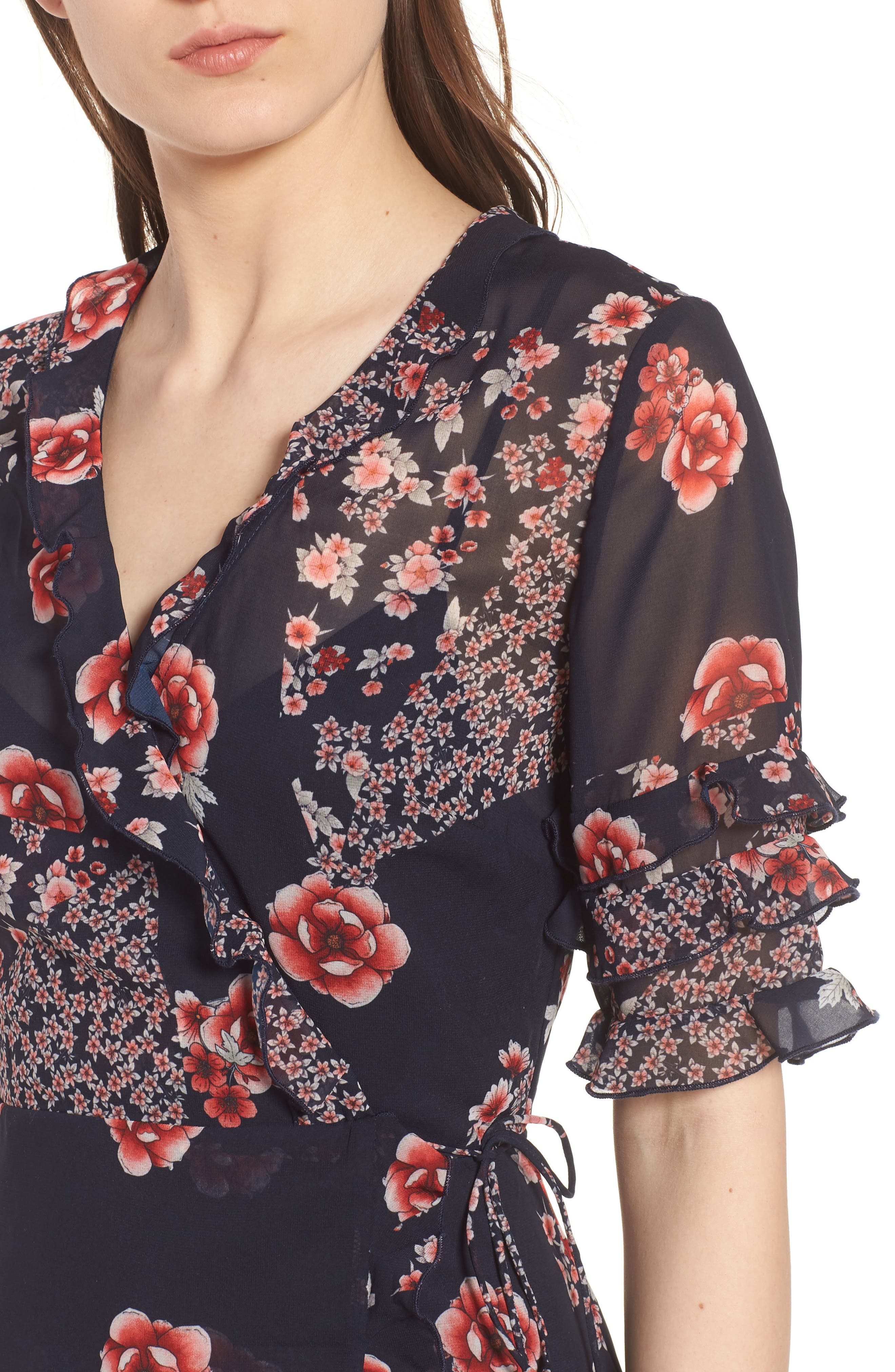East Floral Wrap Dress,                             Alternate thumbnail 4, color,                             421