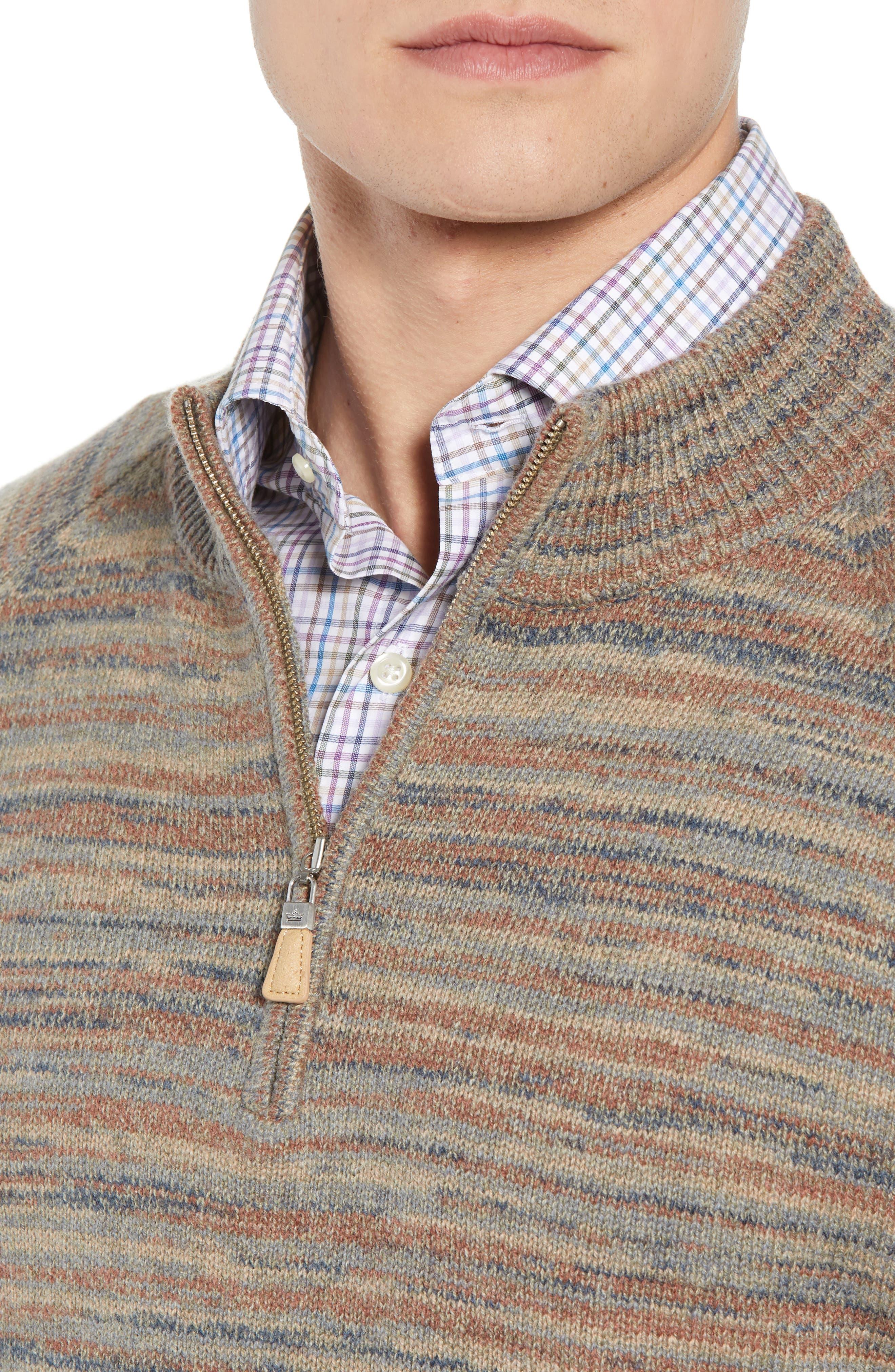 Twisted Cashmere Quarter Zip Sweater,                             Alternate thumbnail 4, color,                             BEIGE