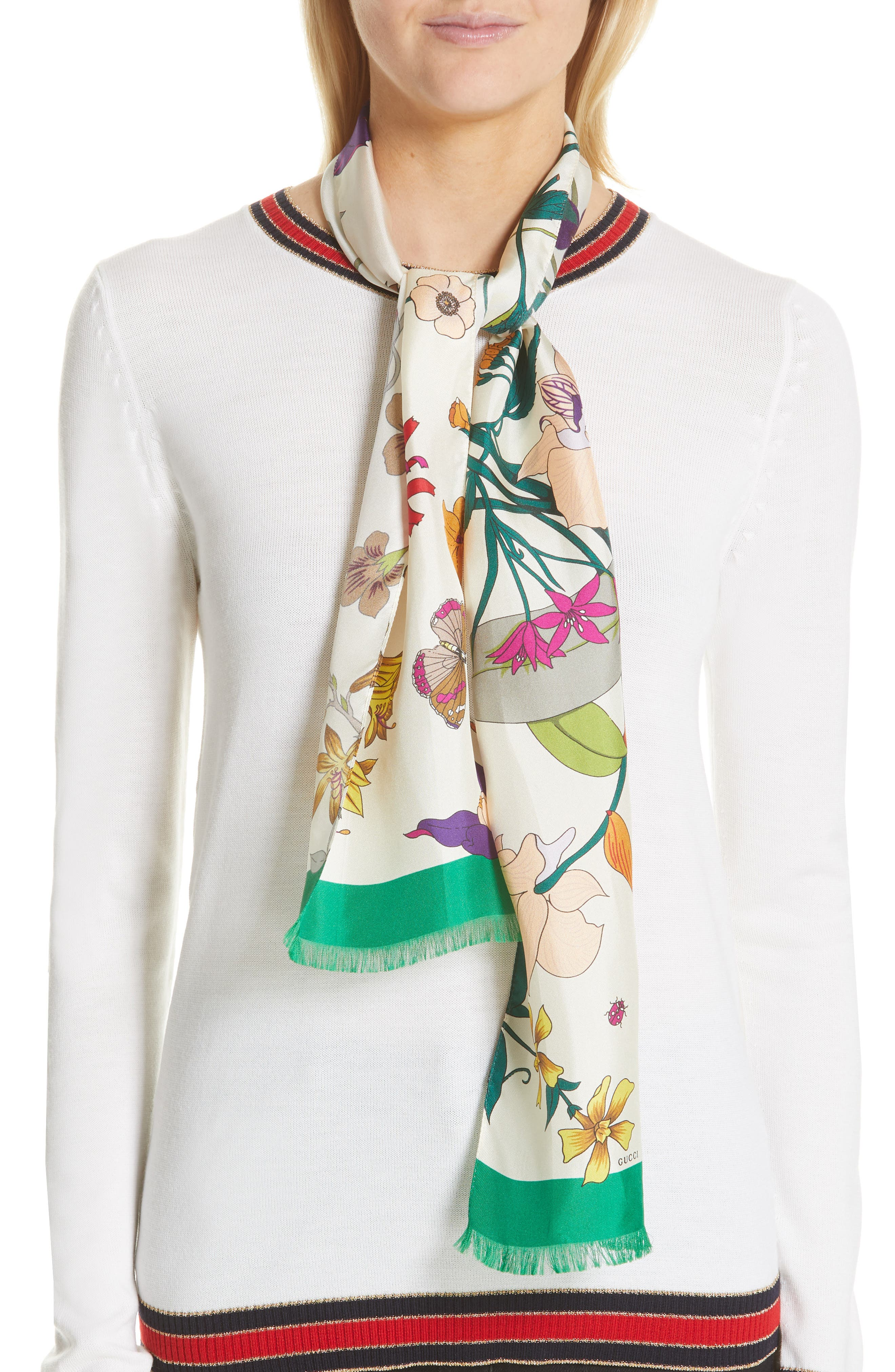 Gothic Floral Silk Skinny Scarf,                             Alternate thumbnail 2, color,                             IVORY/ DARK GREEN