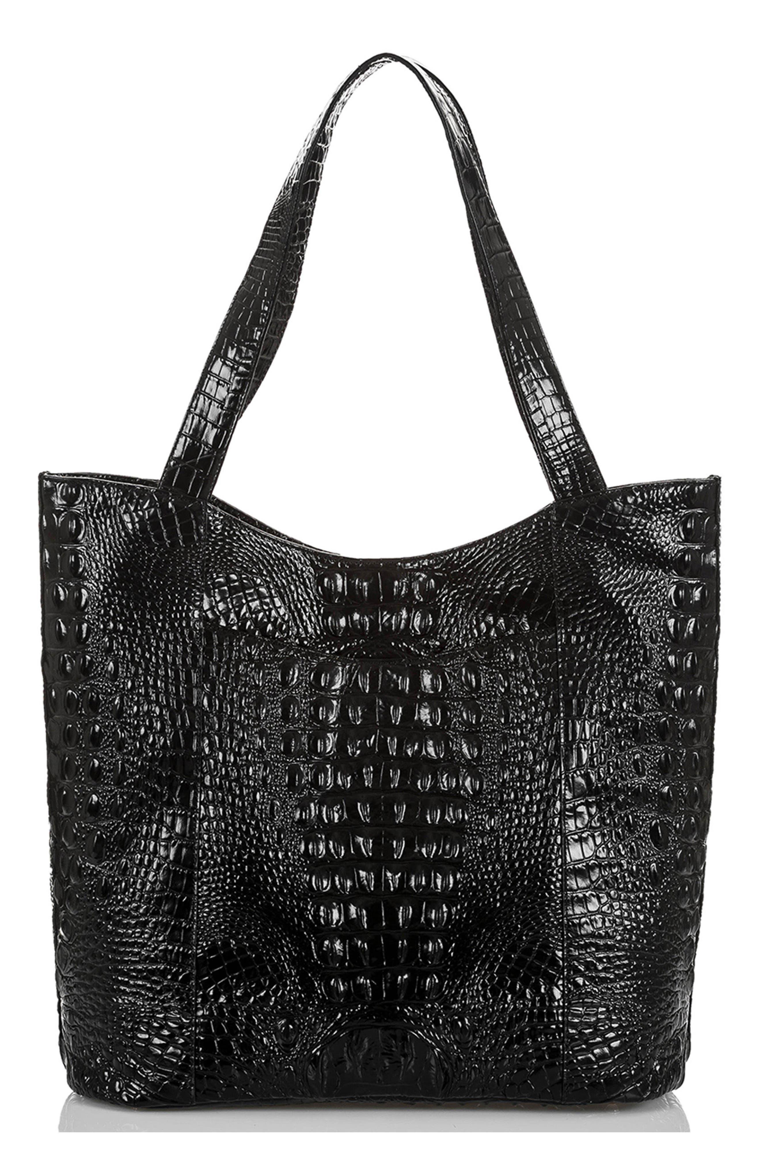 Brayden Croc Embossed Leather Tote,                             Alternate thumbnail 3, color,                             BLACK