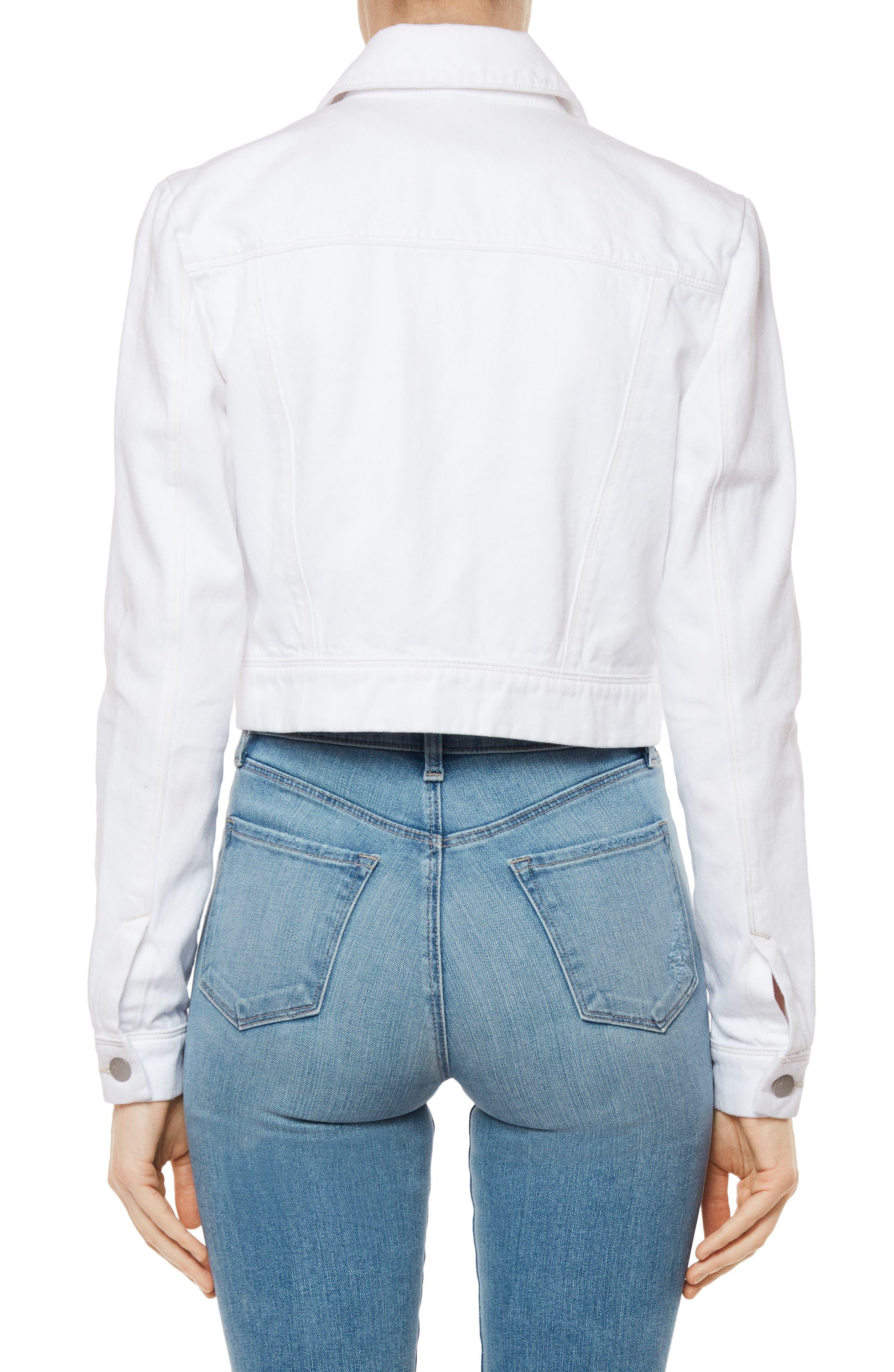 Faye Crop Denim Jacket,                             Alternate thumbnail 2, color,                             WHITE