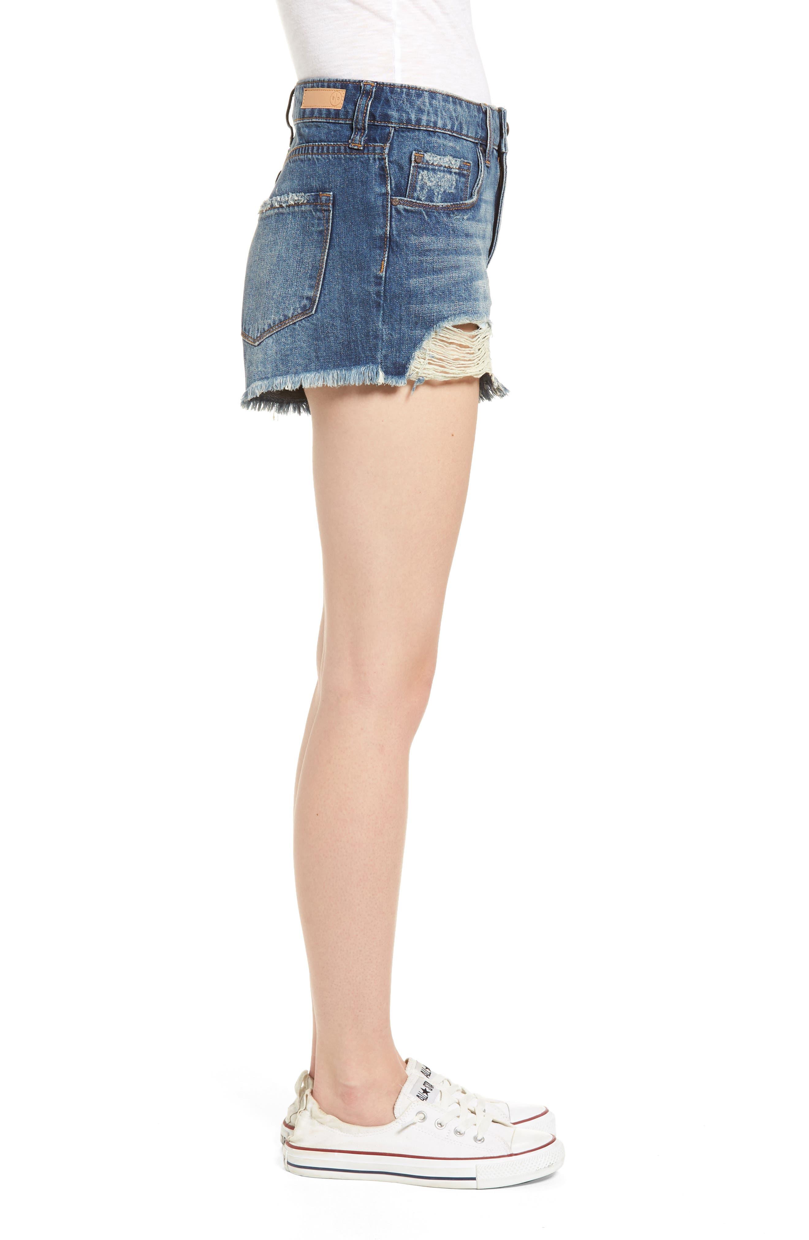 BP.,                             High Waist Frayed Hem Denim Shorts,                             Alternate thumbnail 4, color,                             420