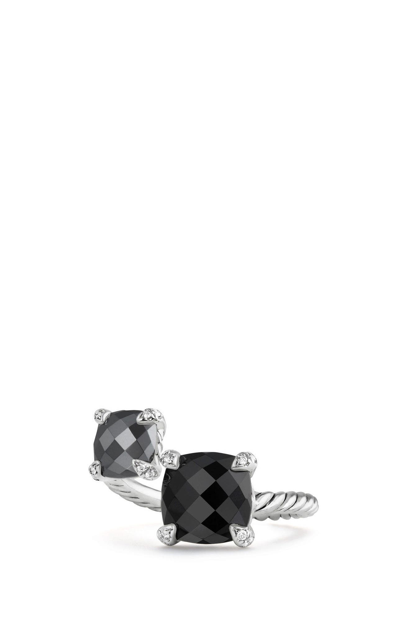 Châtelaine Bypass Ring with Diamonds,                         Main,                         color, BLACK ONYX
