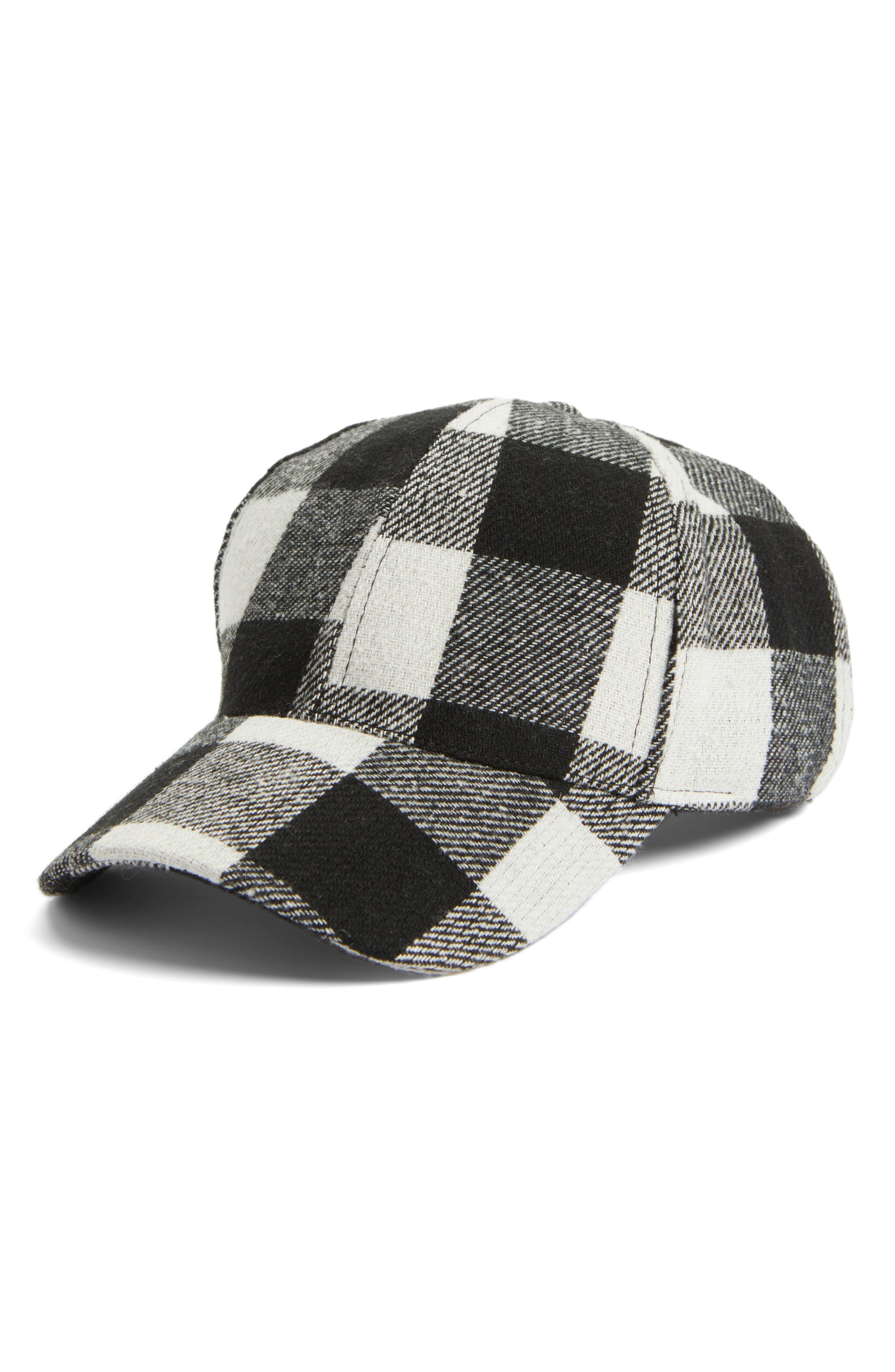 Buffalo Check Baseball Cap, Main, color, 001